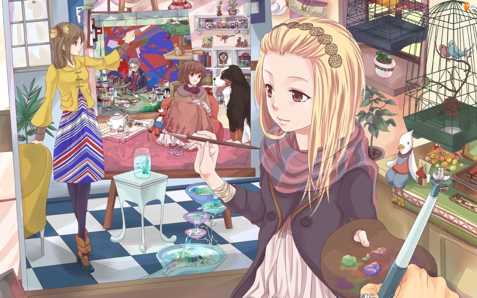 Klatki, Ptaki, Obraz, Anime, Dziewczyny, Fantasy, Pies, Manga