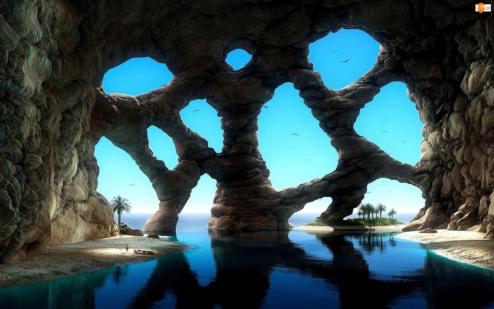 Skały, Palmy, Fantasy, Ptaki, Jaskinia, Morze