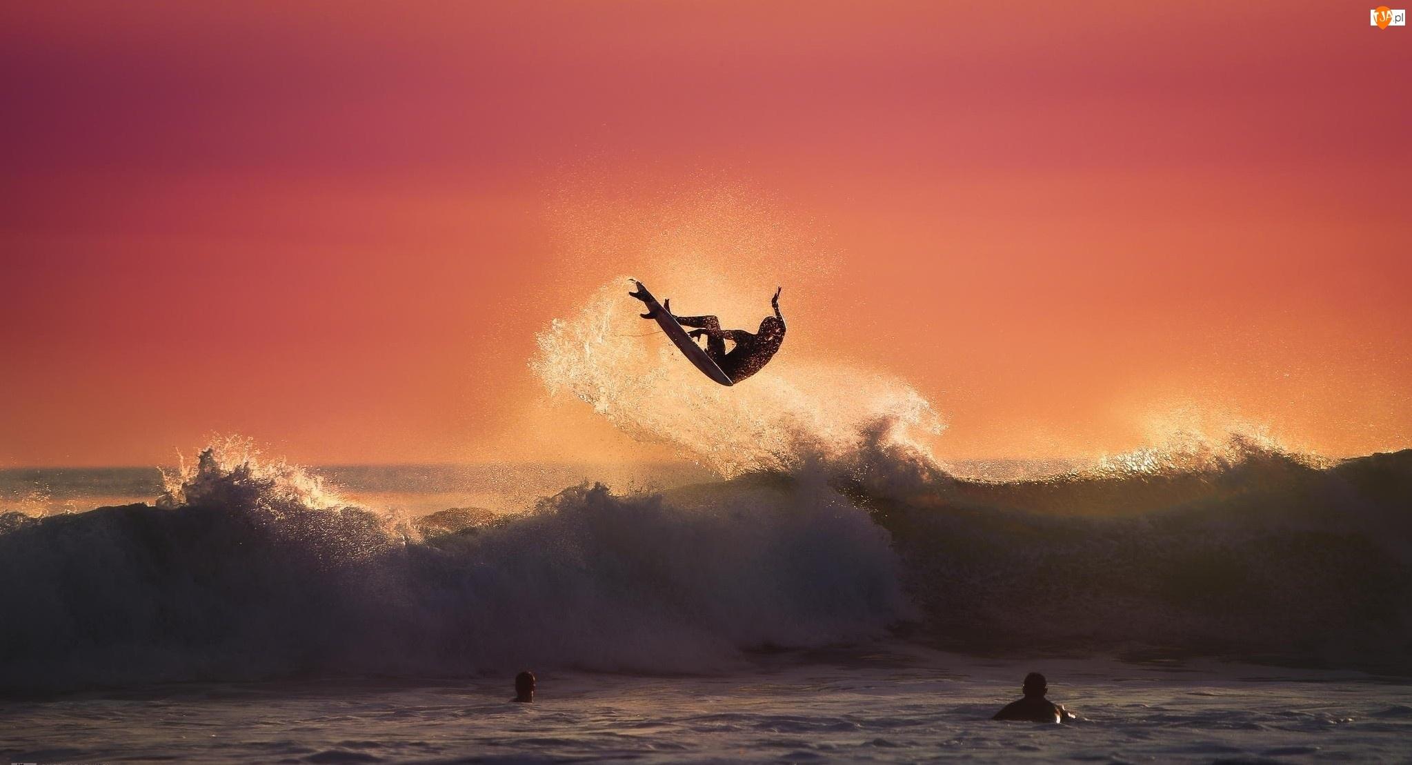 Morze, Mężczyźni, Fala, Surfing