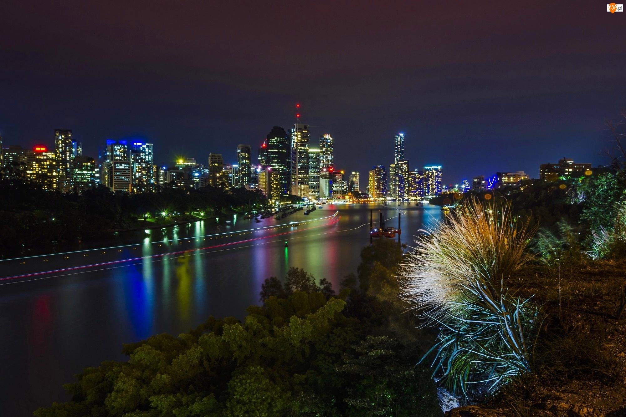 Miasto Nocą, Australia, Rzeka, Melbourne
