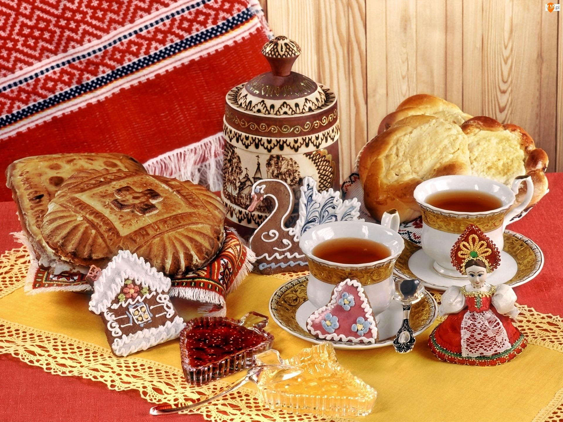Drożdżówki, Pierniczki, Filiżanki, Konfitura, Herbata, Ciasteczka