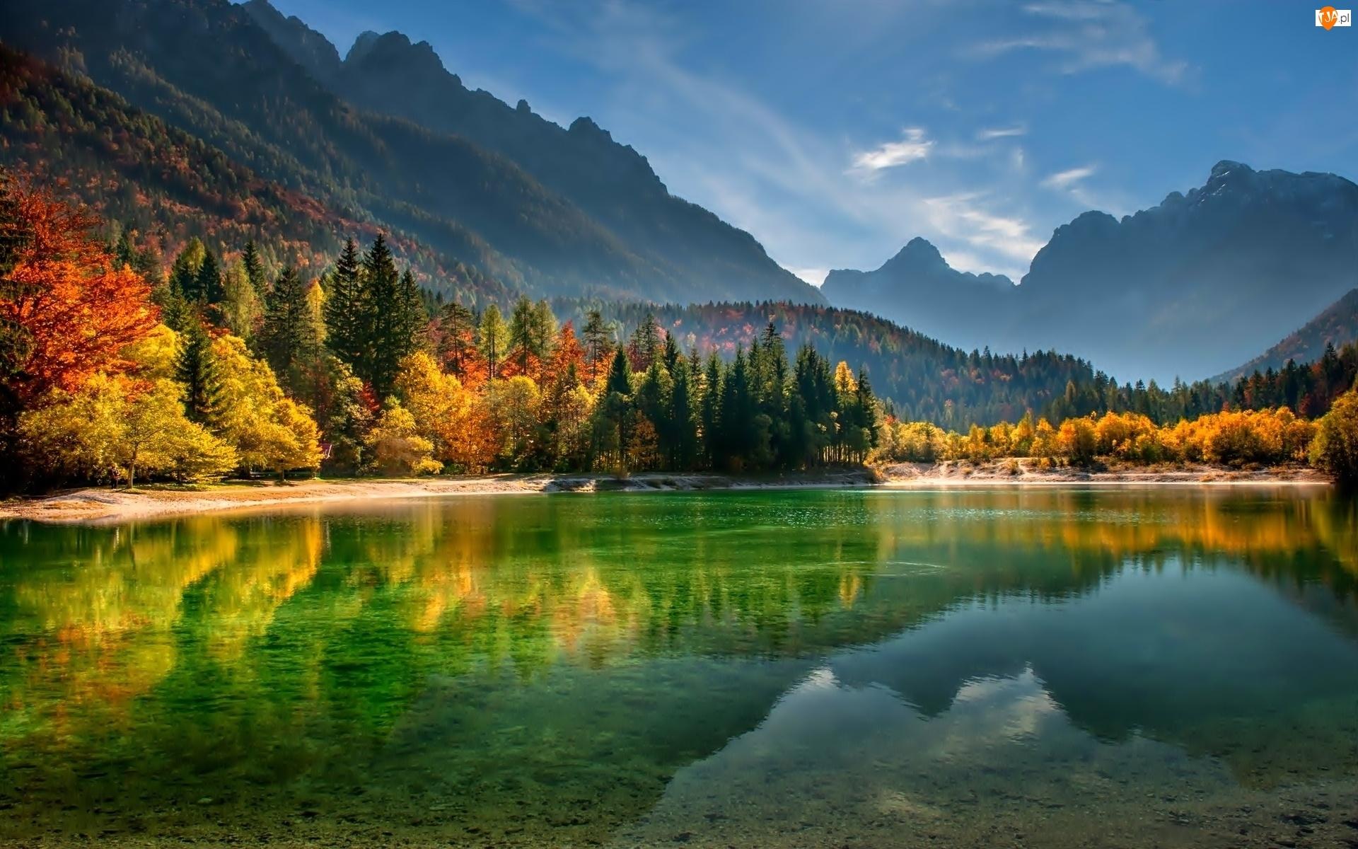 Słowenia, Jezioro, Lasy, Góry, Jesień