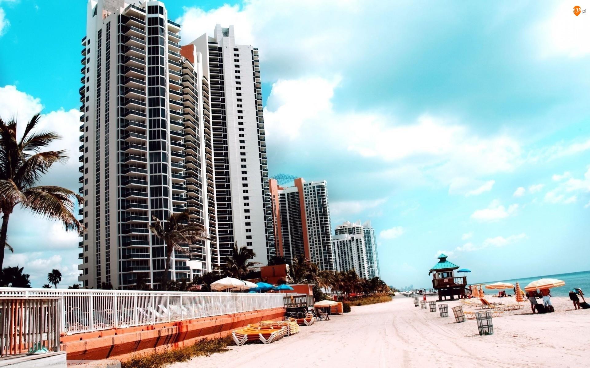 Miami, Palmy, Turyści, Plaża, Floryda, Wieżowce, Ocean