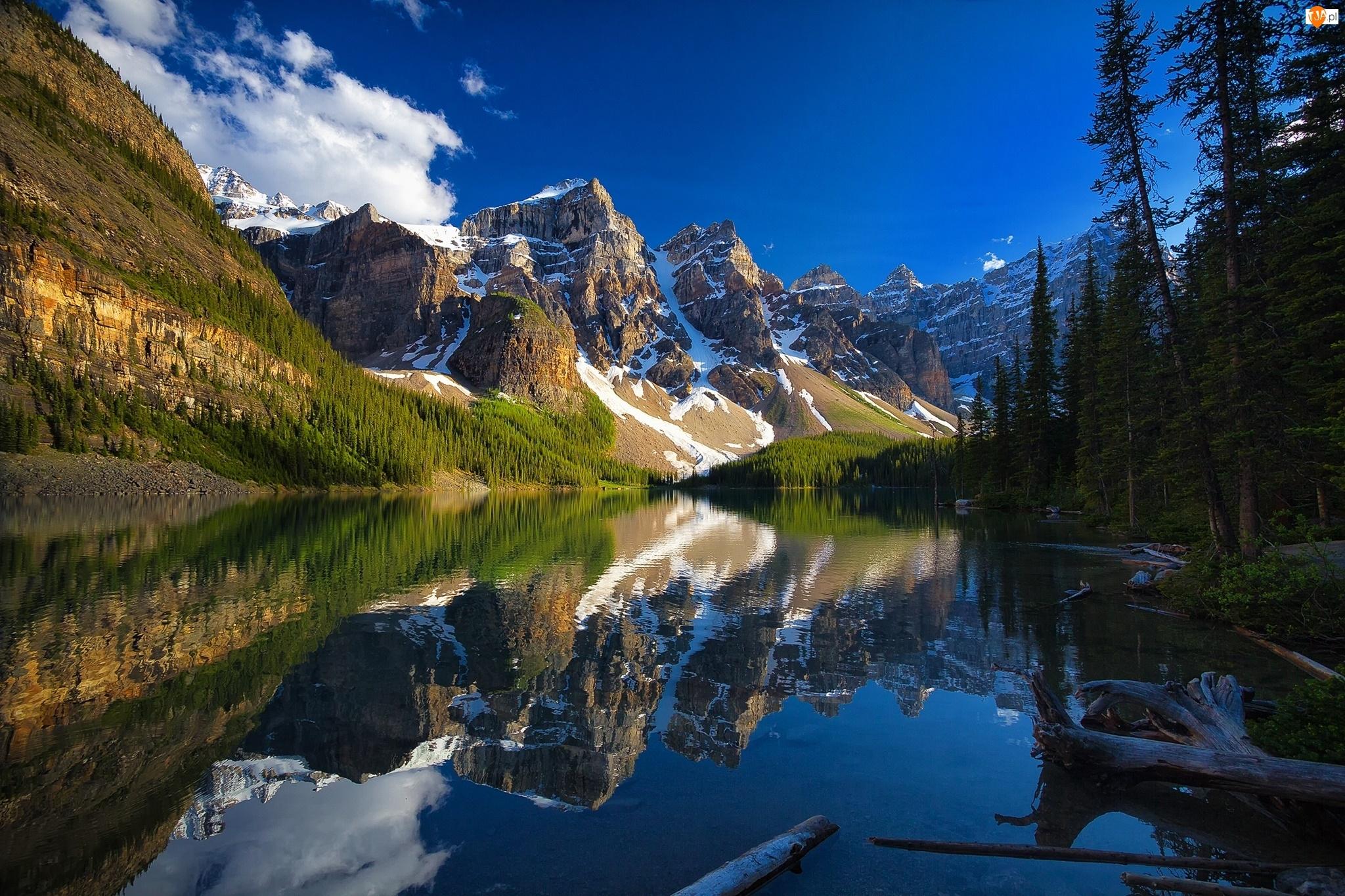 Alberta, Dolina Dziesięciu Szczytów, Jezioro Moraine, Odbicie, Banff National Park, Kanada