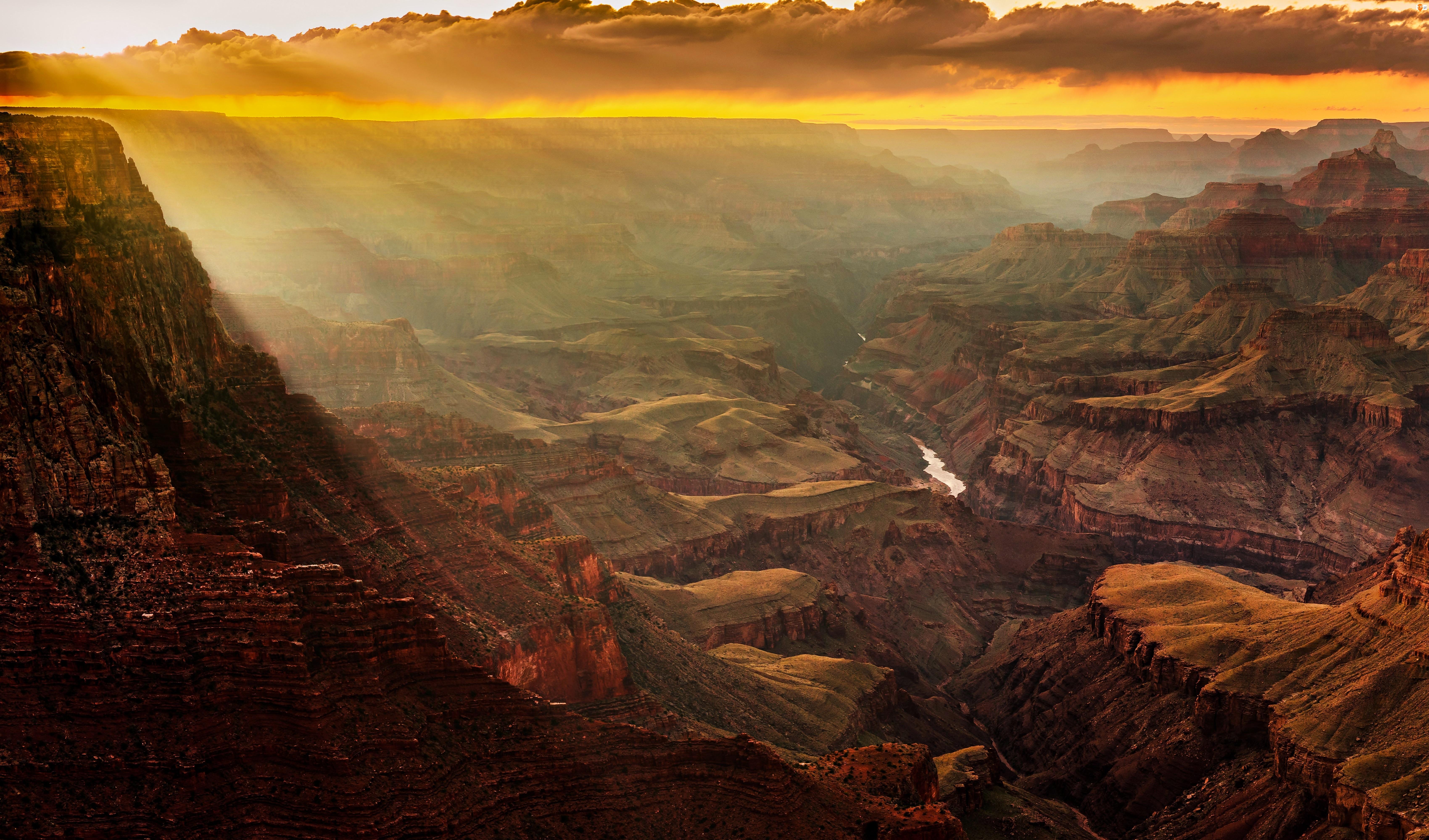 Chmury, Przebijające, I Rzeka, Arizona, Wielki Kanion, USA, Kolorado, Światło