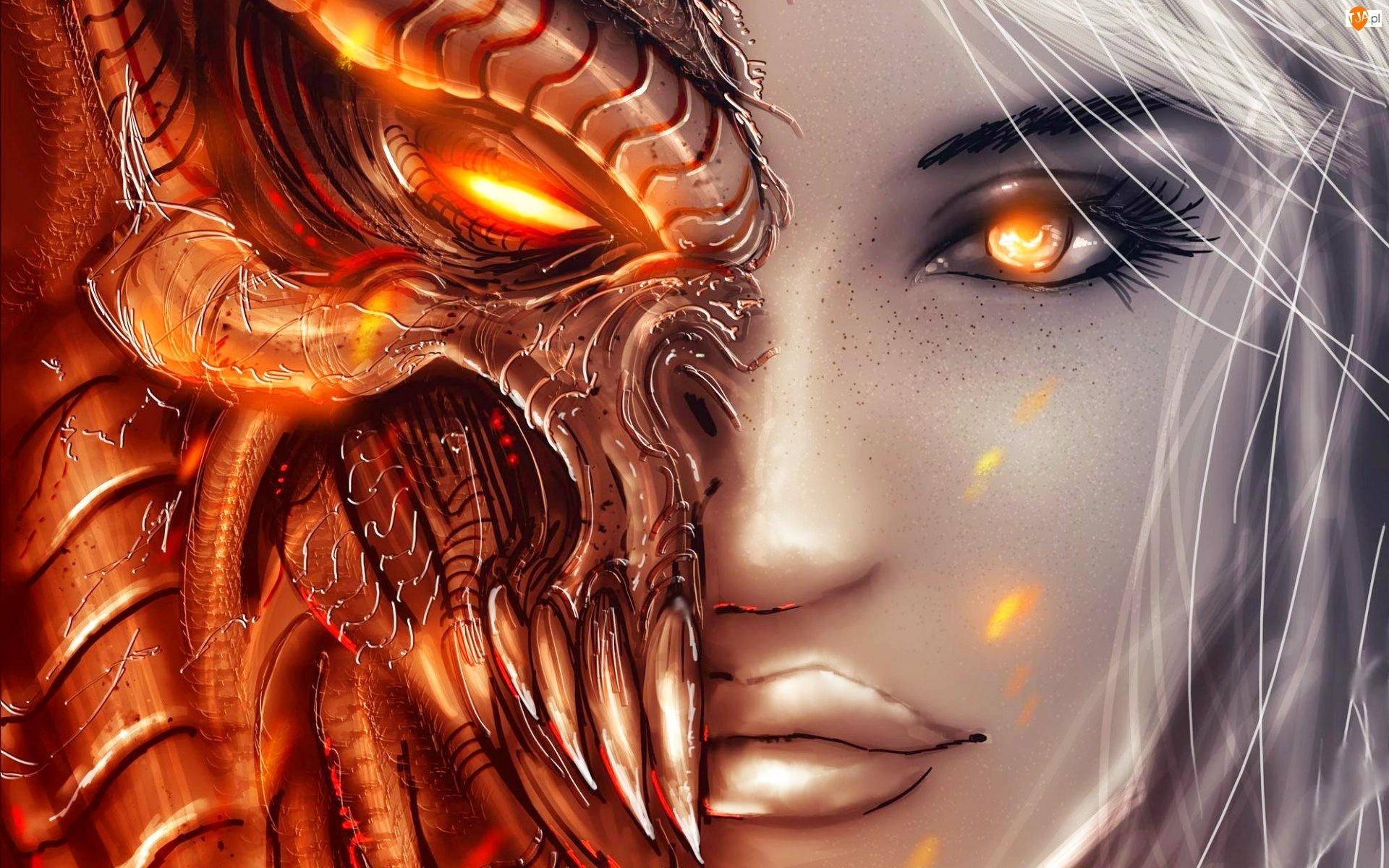 Fantasy, Diablo 3, Kobieta, Maska