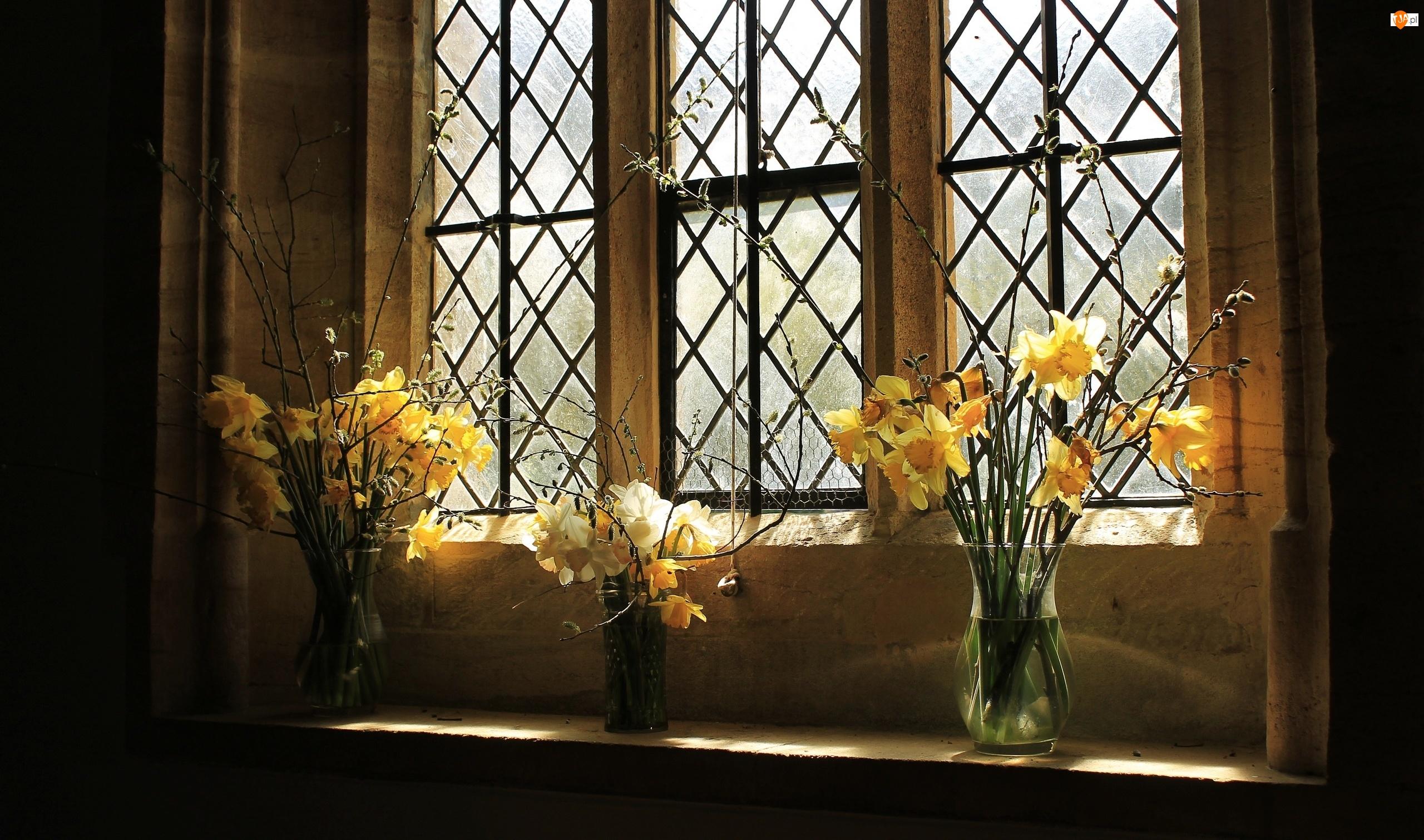 Żonkile, Wnętrze, Bukiety, Okno, Kwiatów