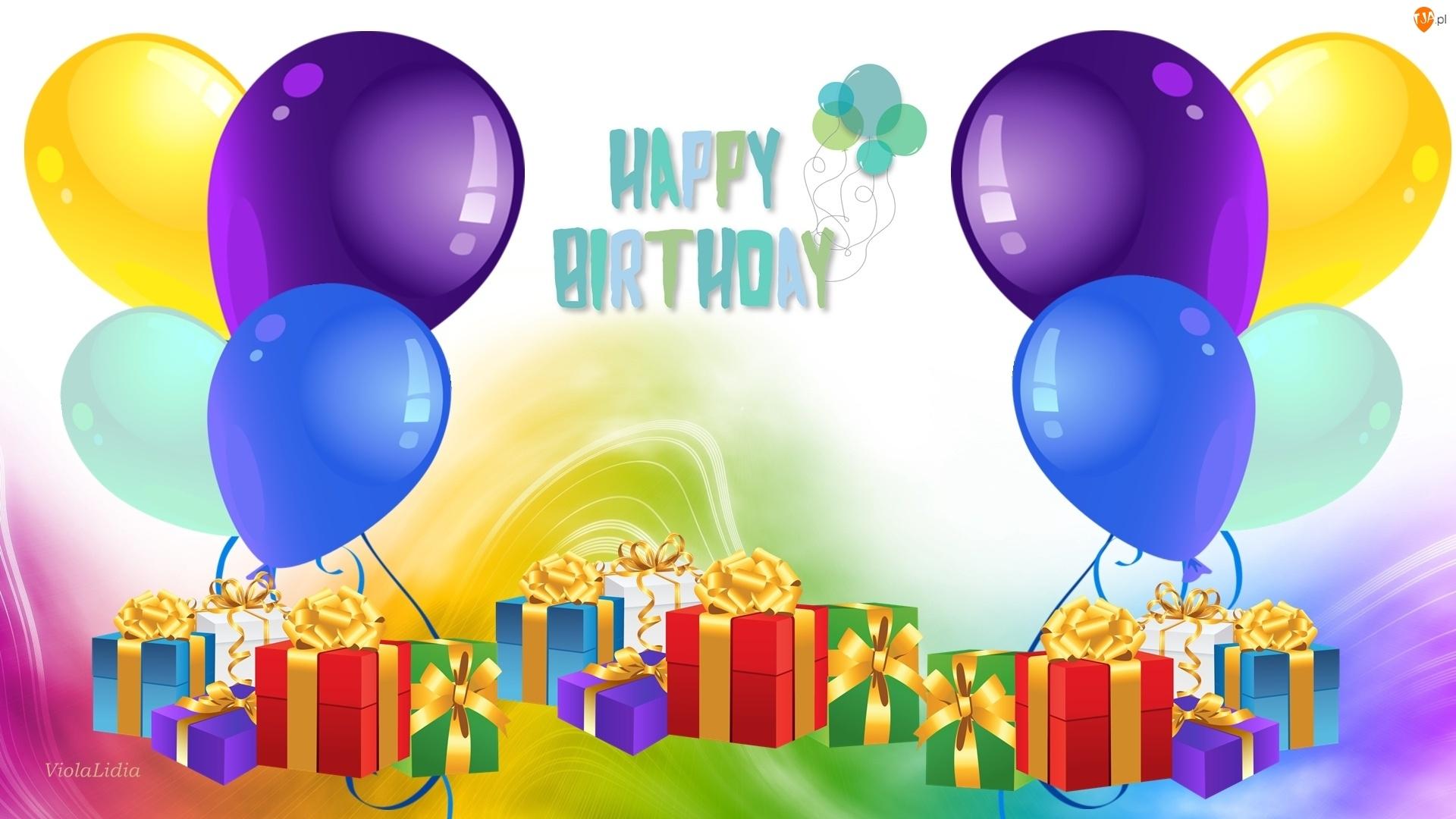 Grafika, Balony, Urodziny, Prezenty