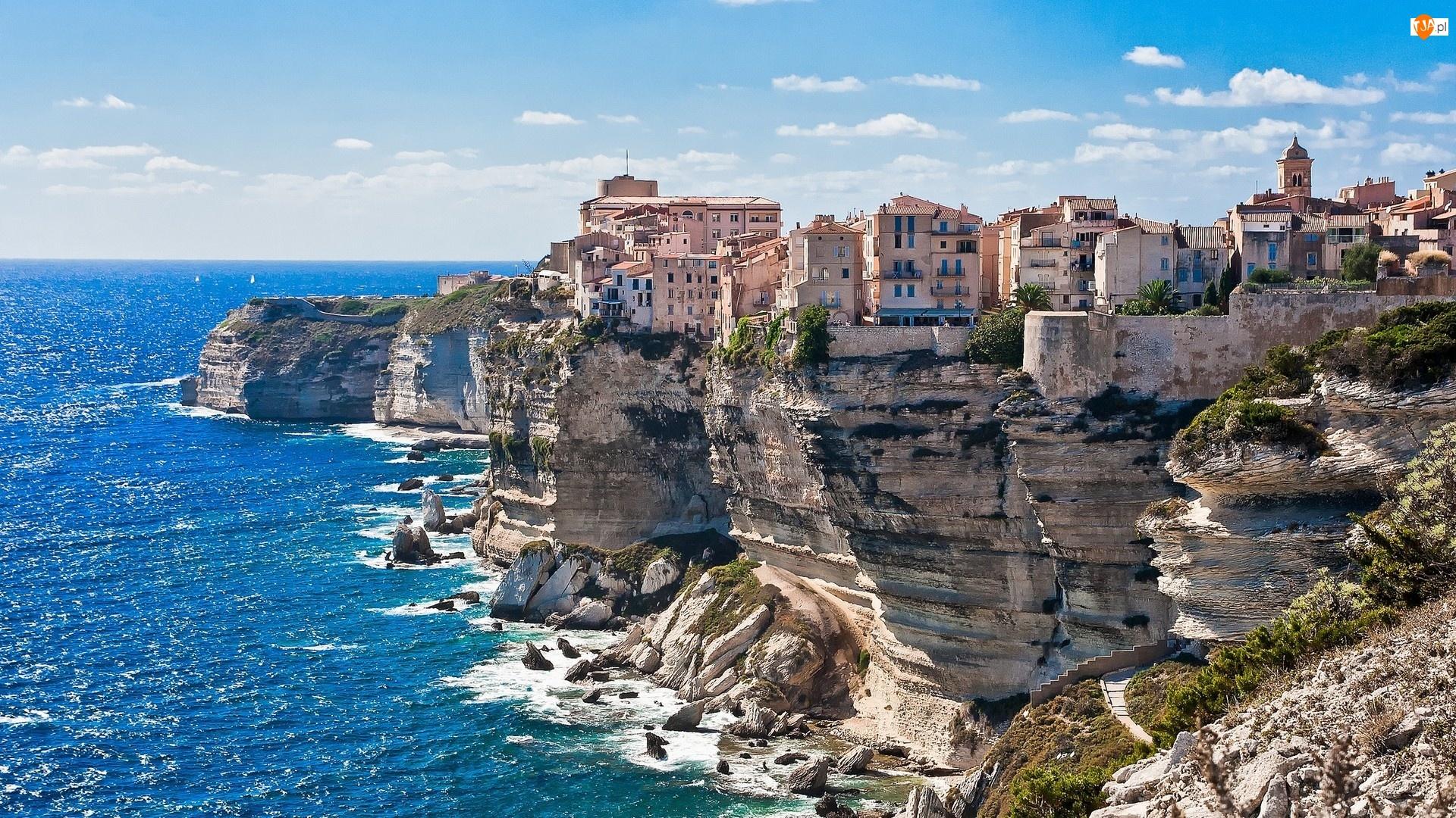 Śródziemne, Korsyka, Klif, Domy, Morze