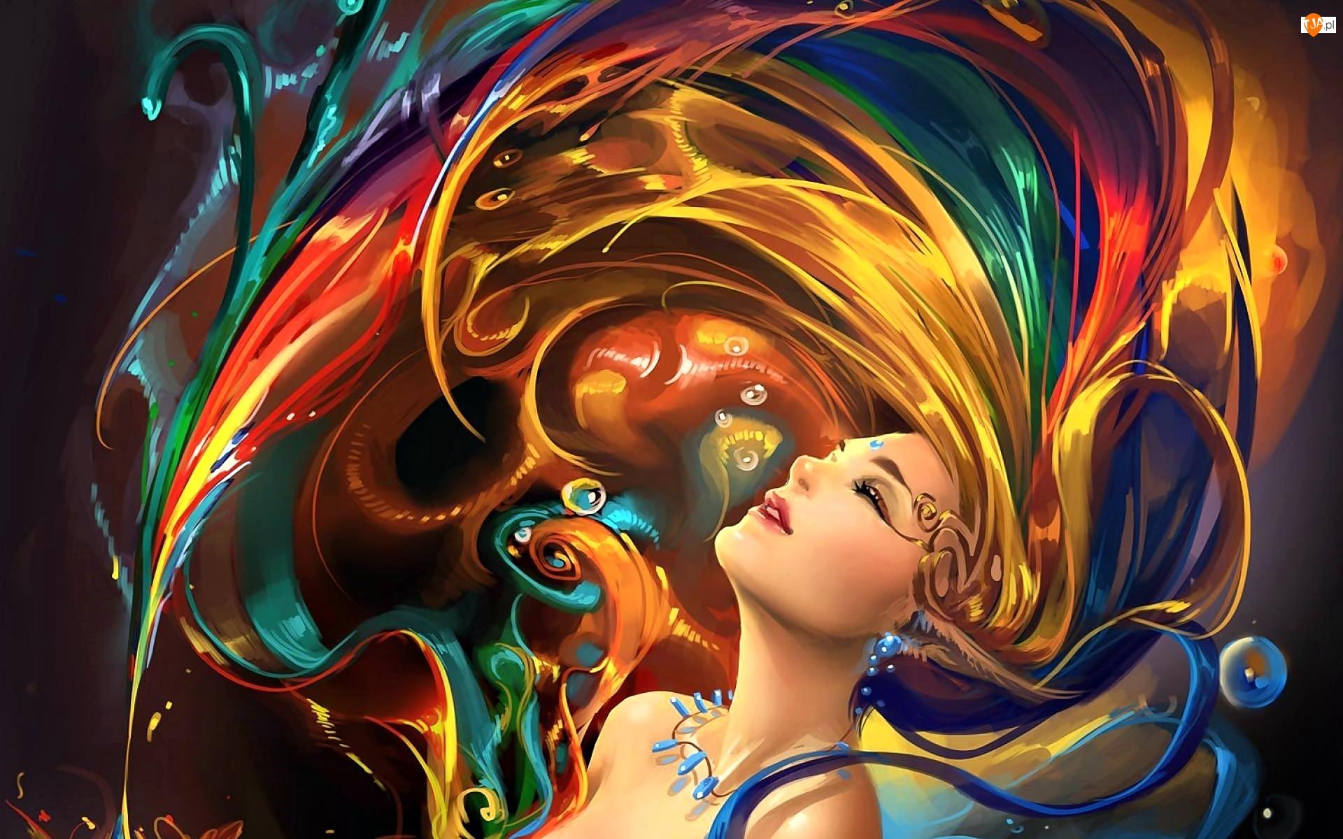 Fantasy, Kobieta, Tęcza
