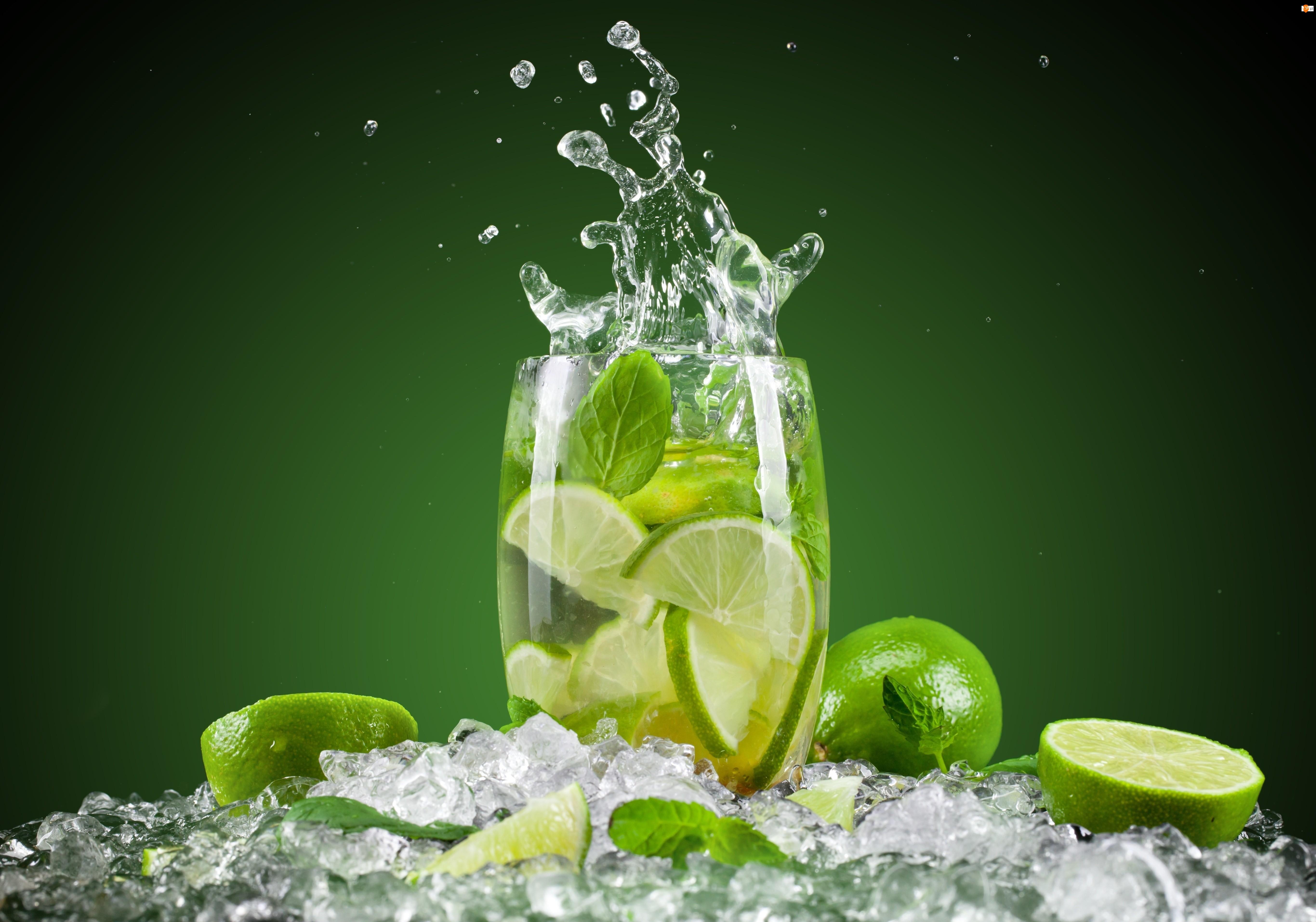 Lód, Limonki, Woda, Napój, Lemoniada