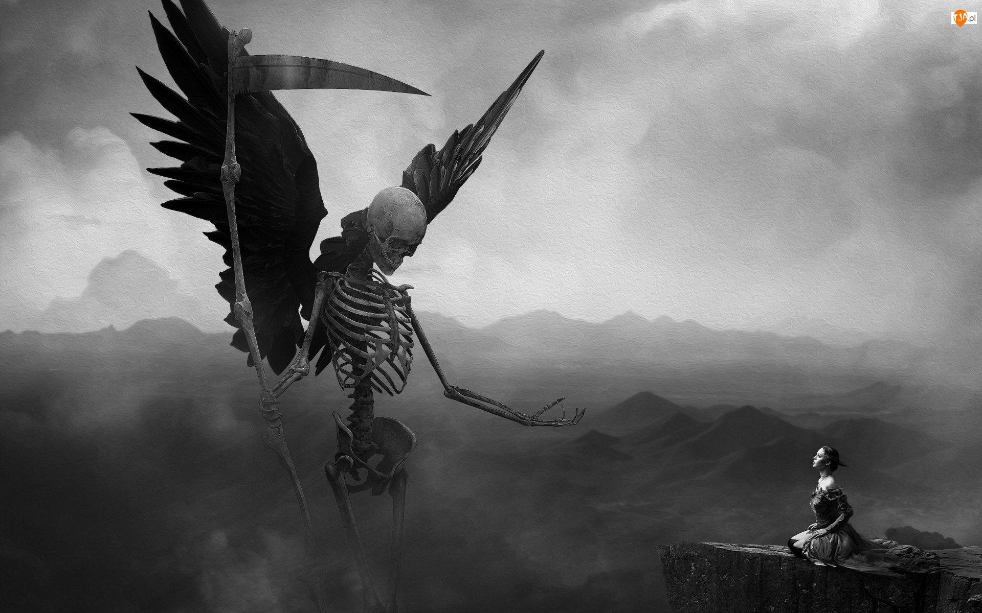 Śmierć, Mroczne, Czarno-Białe, Grafika 2D, Fantasy, Kobieta