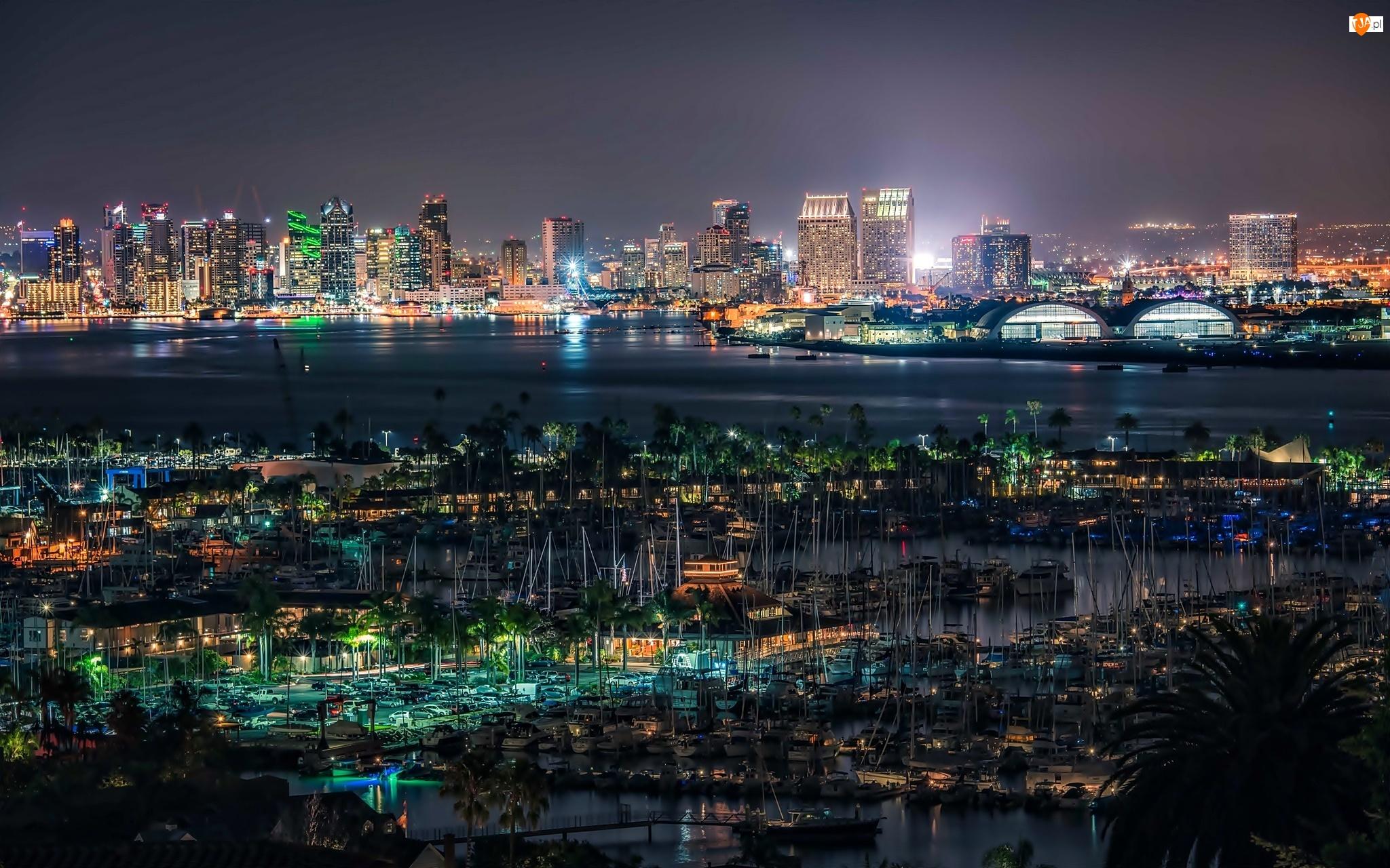 Port, Noc, Kalifornia, Światła, San Diego, Panorama Miasta