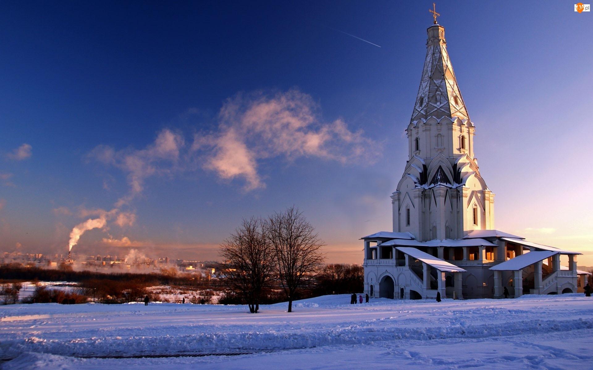 Zima, Rosja, Kościół, Moskwa, Drzewa