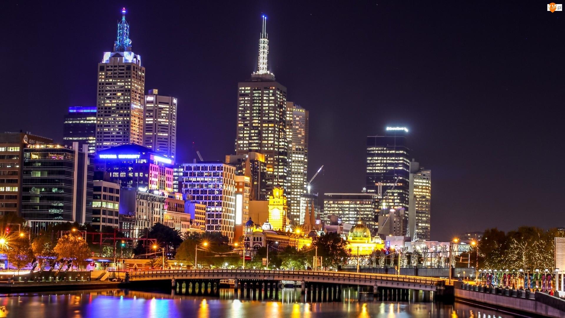 Australia, Noc, Melbourne, Miasto