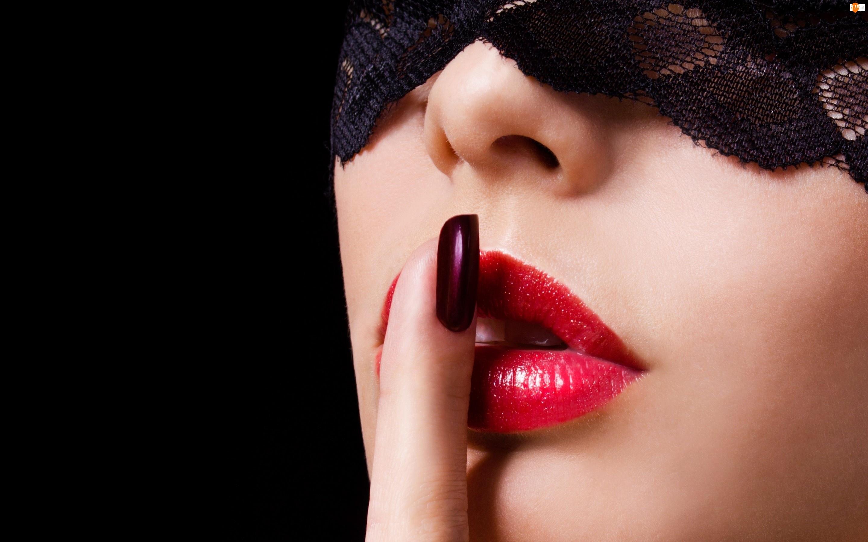 Palec, Twarz, Czerwone, Kobiety, Usta