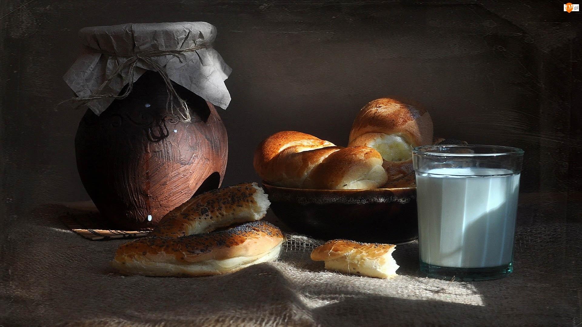 Kamionkowy, Pieczywo, Bułki, Śniadanie, Słój, Rogal, Mleko