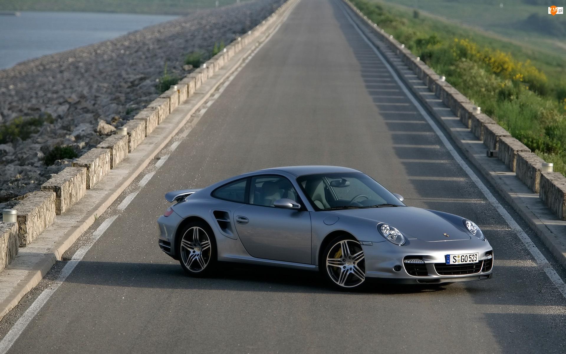 Droga, 911, Samochód, Srebrny,  , Porsche, Turbo