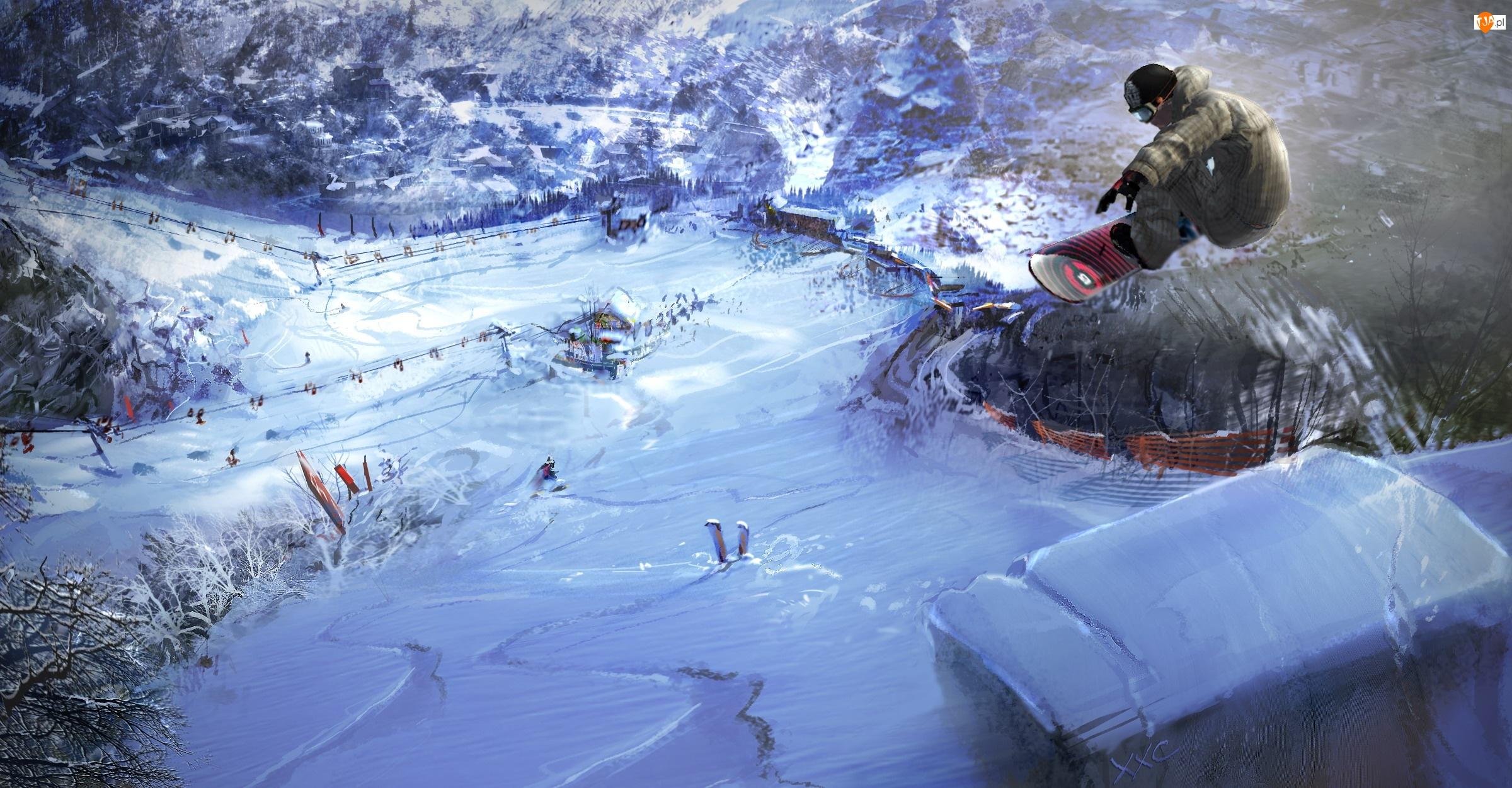 Skaczący snowboardzista
