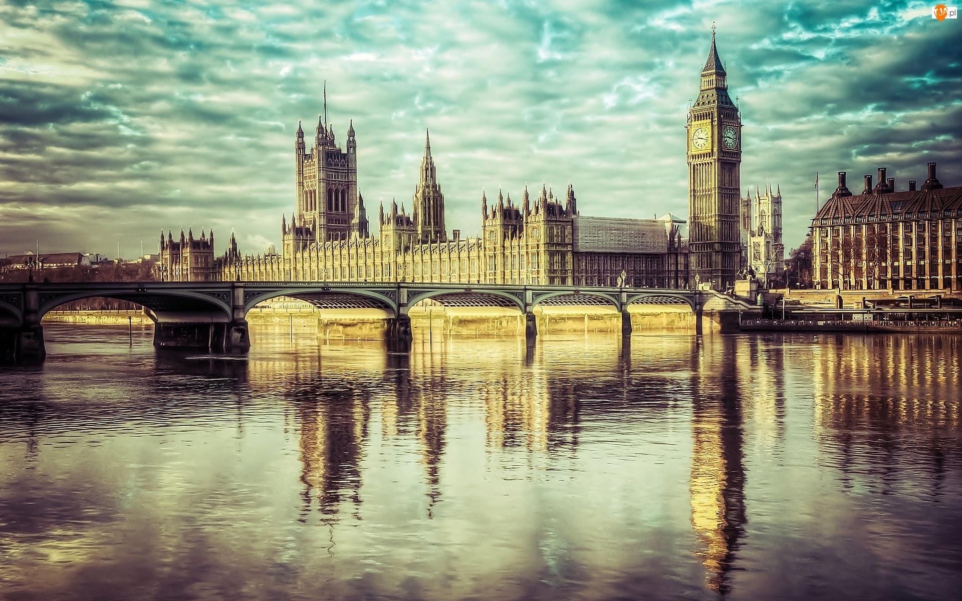 Big Ben, Londyn, Rzeka, Most, Zabytek