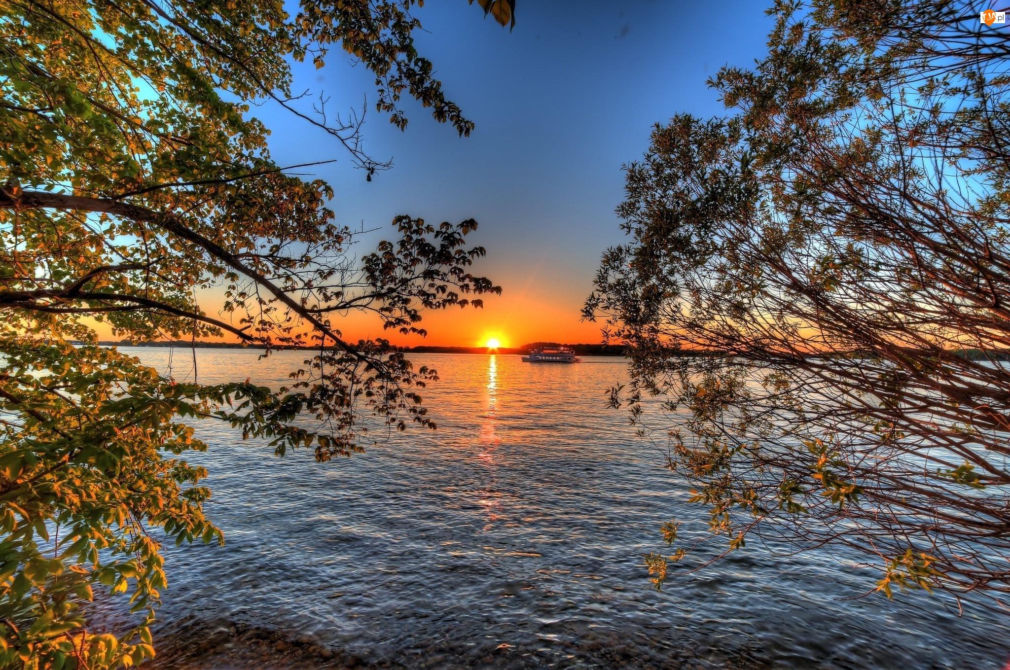 Wycieczkowy, Zachód, Jezioro, Słońca, Statek, Drzewa
