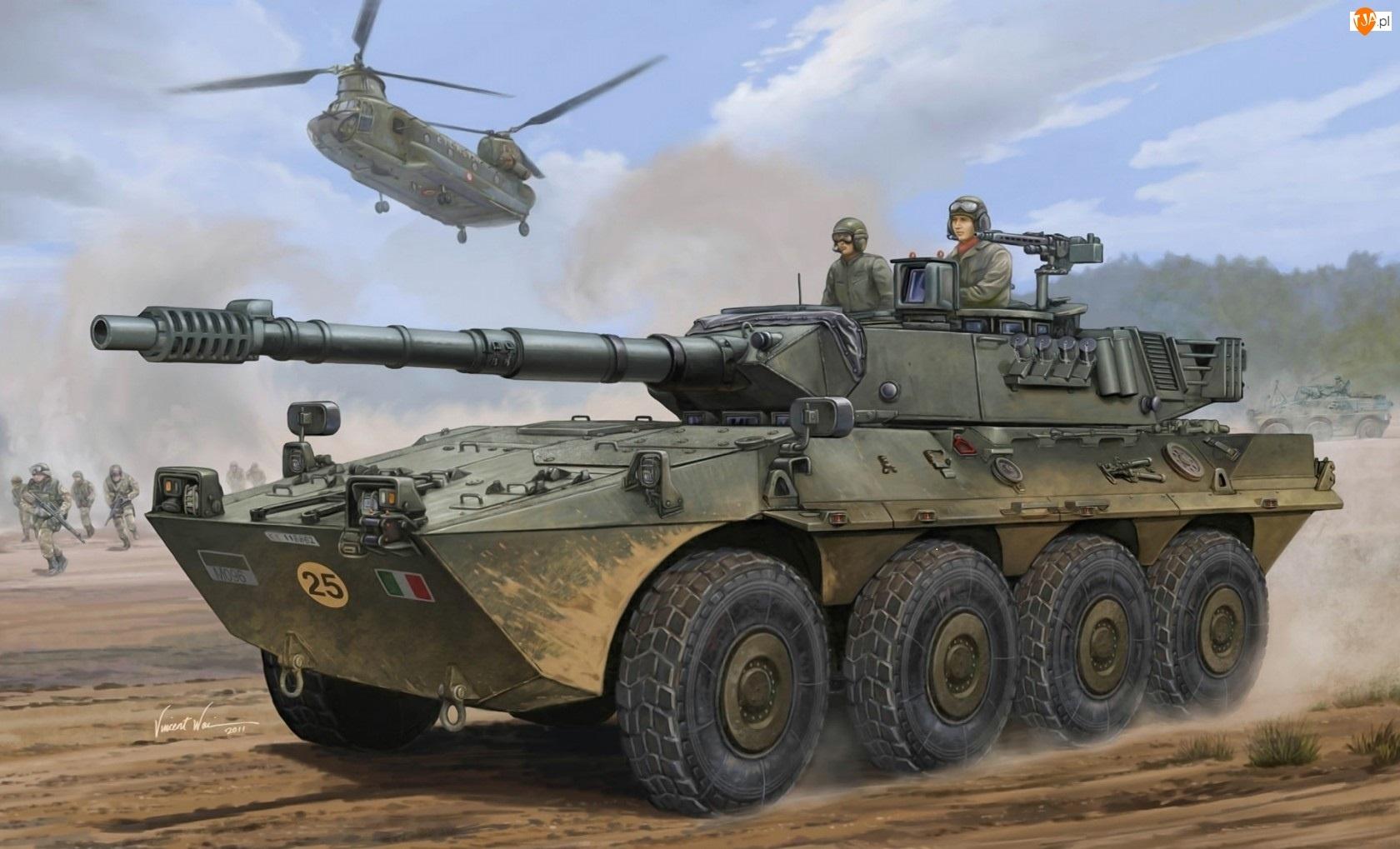 Żołnierze, Czołg, Helikopter
