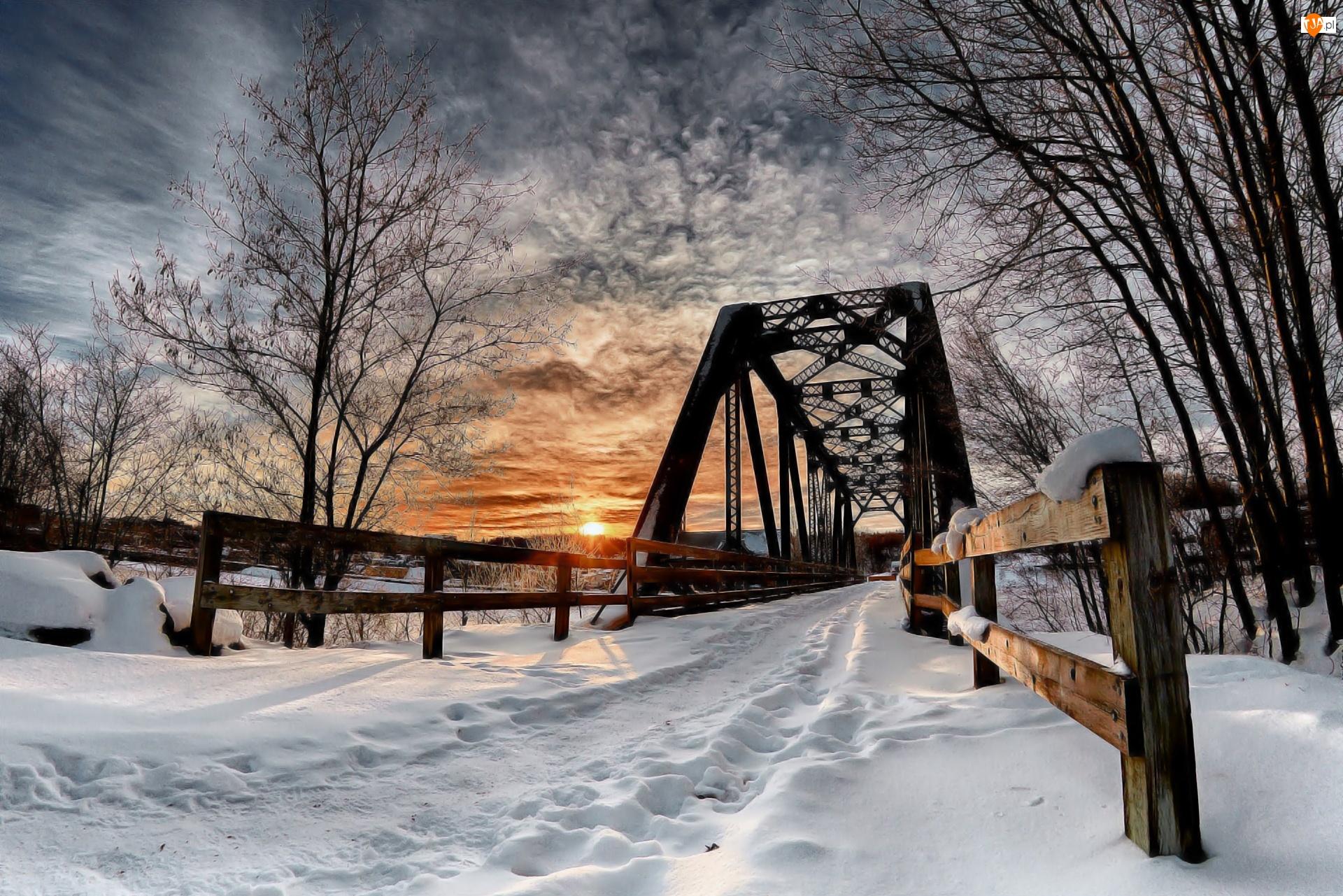 Drzewa, Zima, Zachód, Most, Słońca