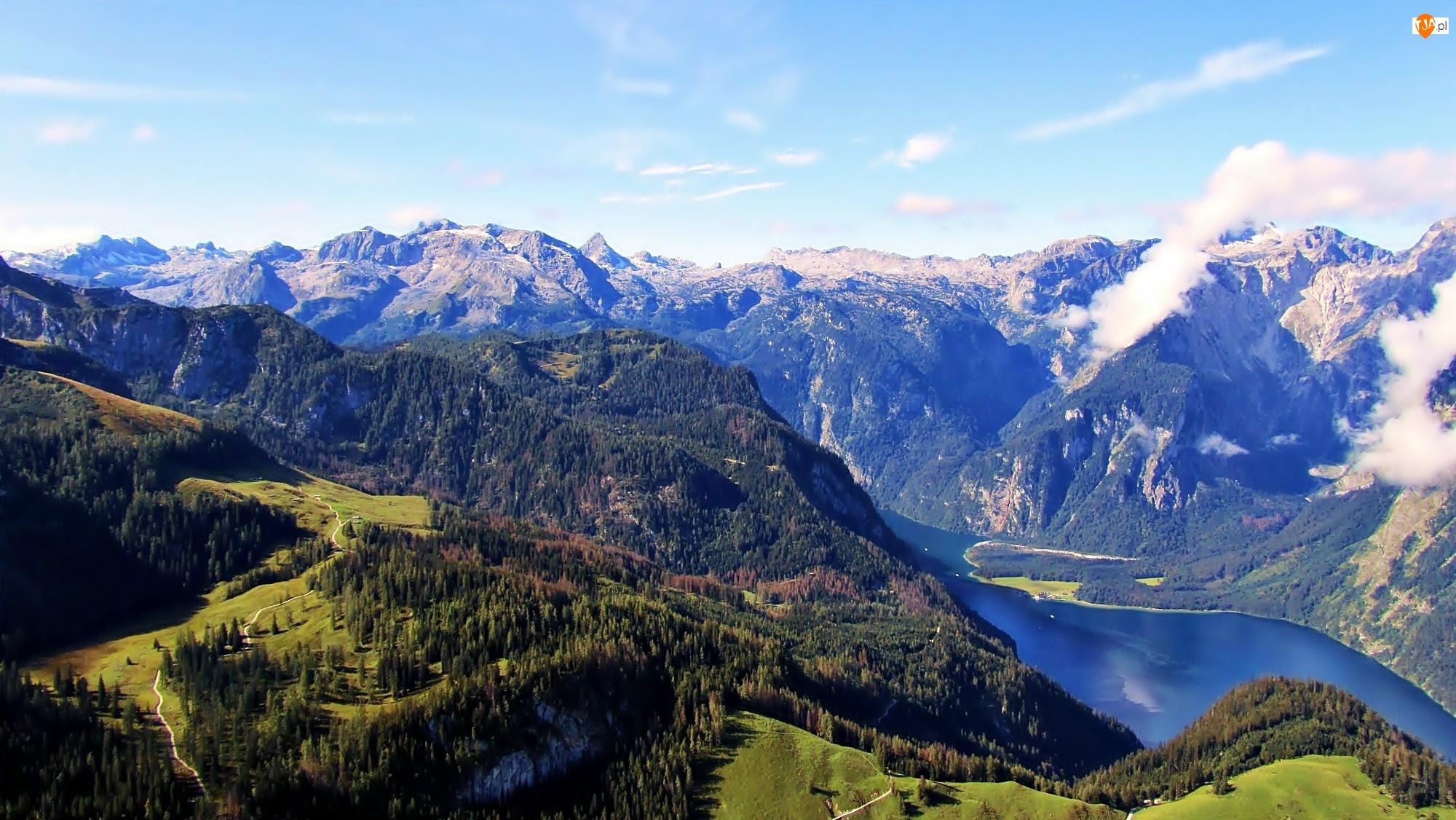 Koenigssee, Chmury, Lasy, Cień, Góry, Bawaria, Jezioro, Światło