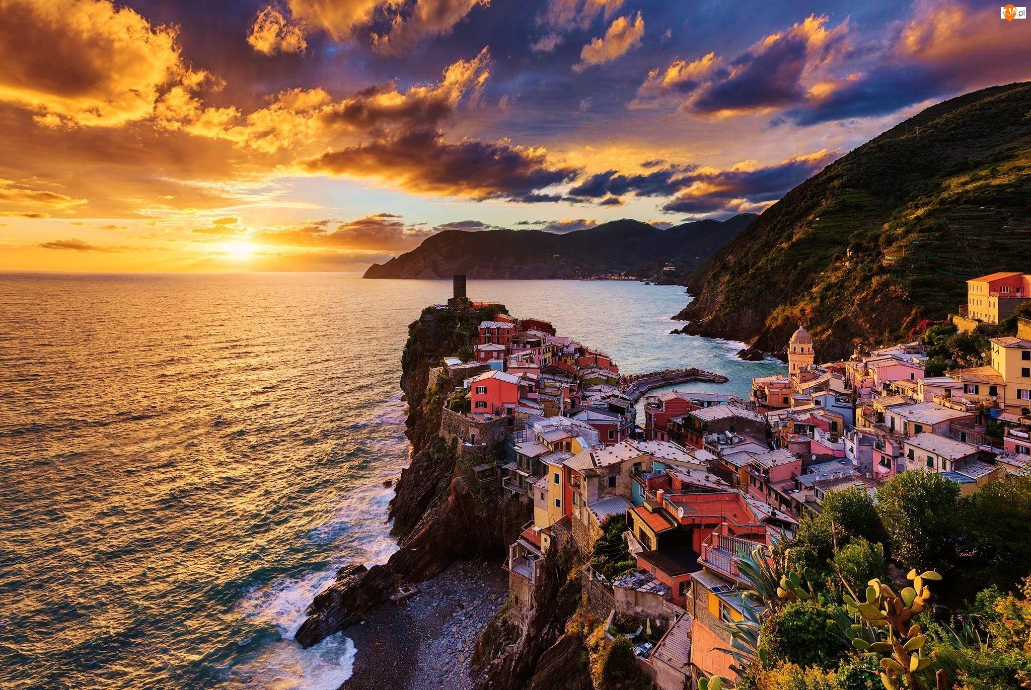 Domy, Zachód, Skały, Słońca, Morze