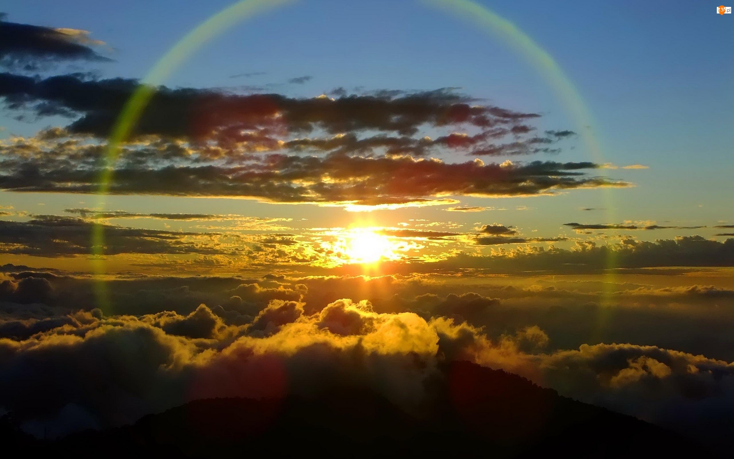 Tęcza, Góry, Promienie, Chmury, Słońca