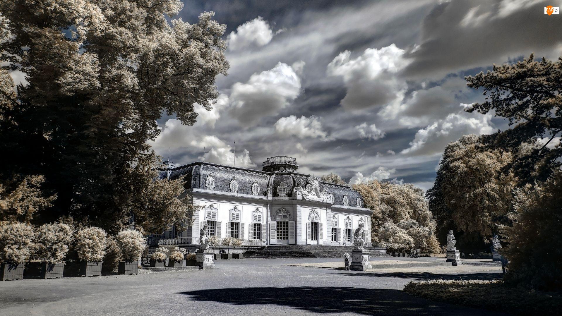 Park, Czarno-Białe, Zamek, Sepia, Posągi, Drzewa