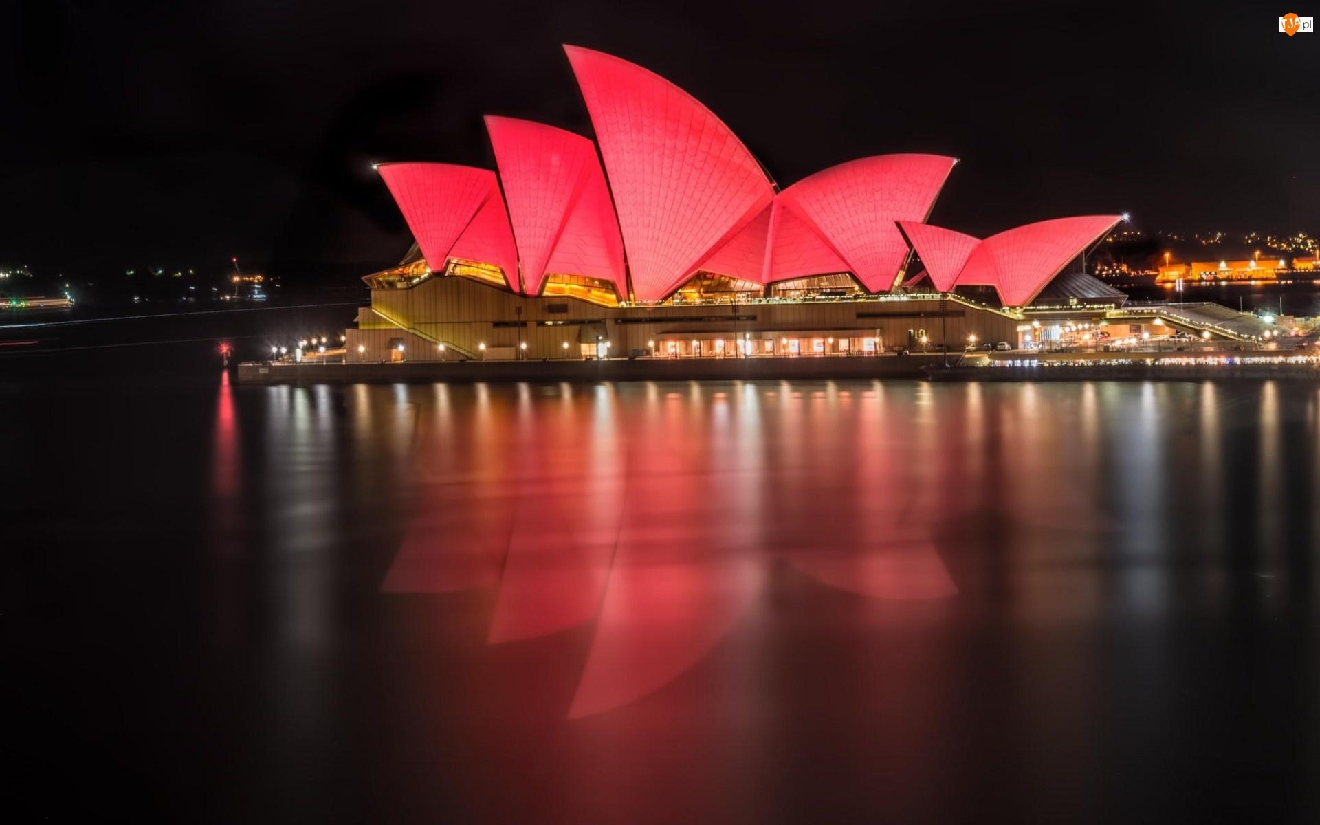 Noc, Opera, Sydney, W, Światła