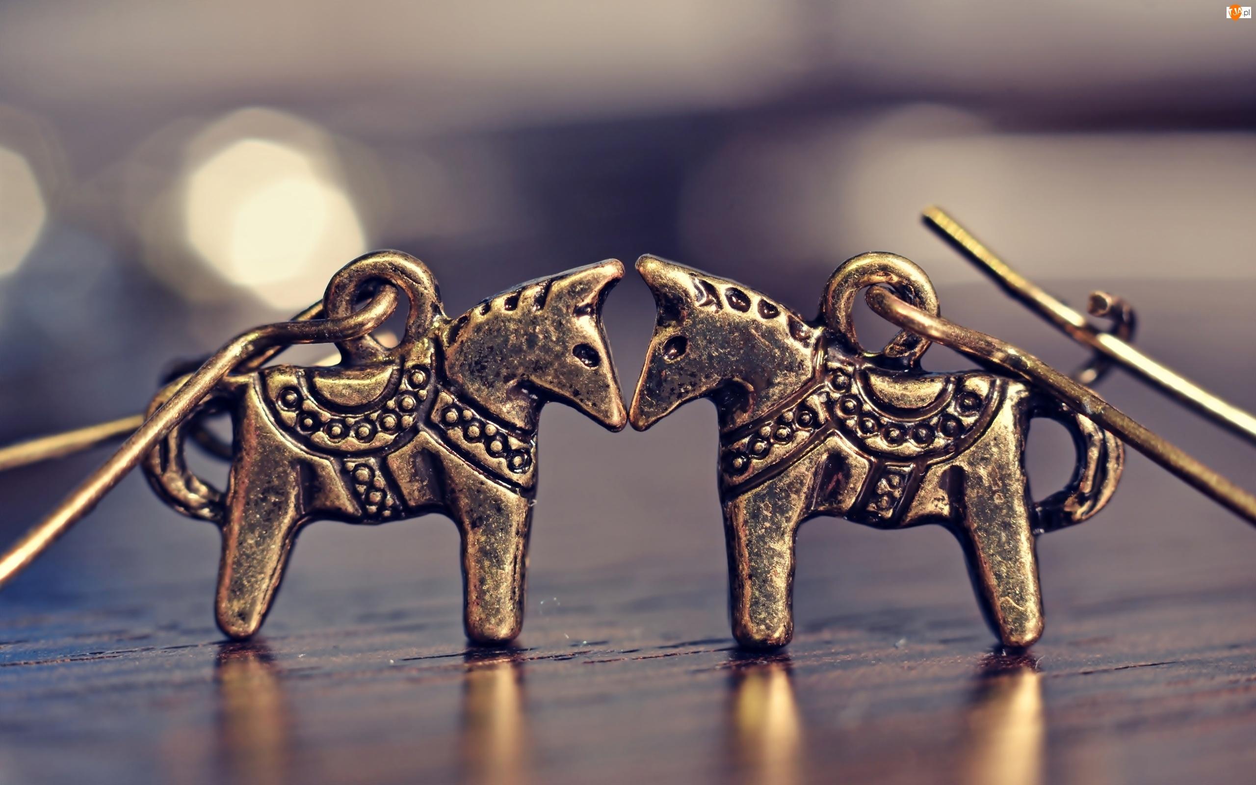 Konie, Makro, Kolczyki, Biżuteria, Brąz