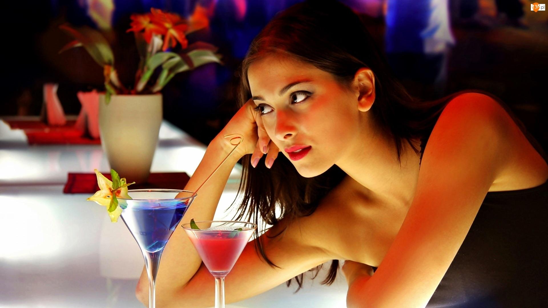 Piękna, Drinki, Kobieta, Bar
