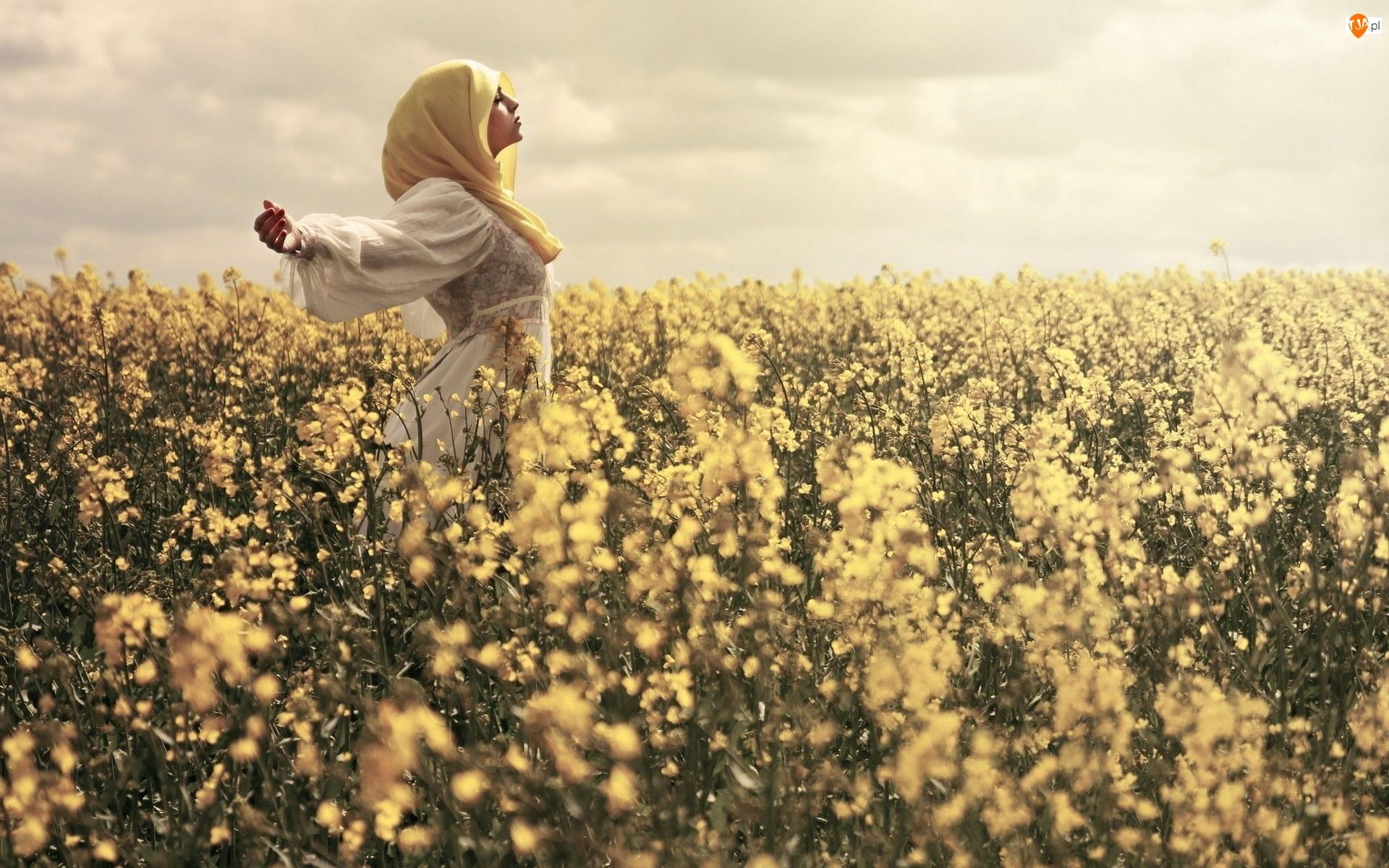 Kwiaty, Dziewczyna, Łąka