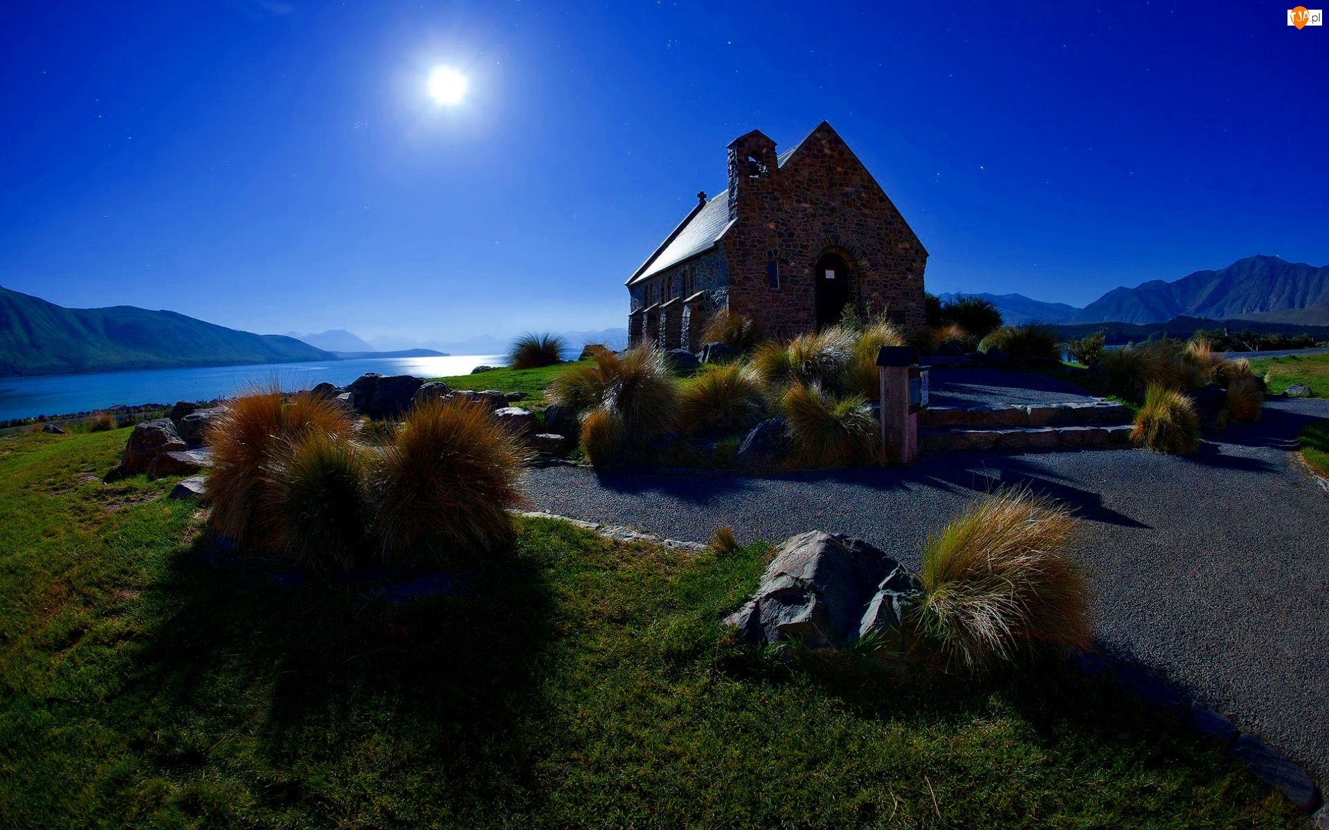 Kościół, Szkocja, Góry, Noc, Jezioro