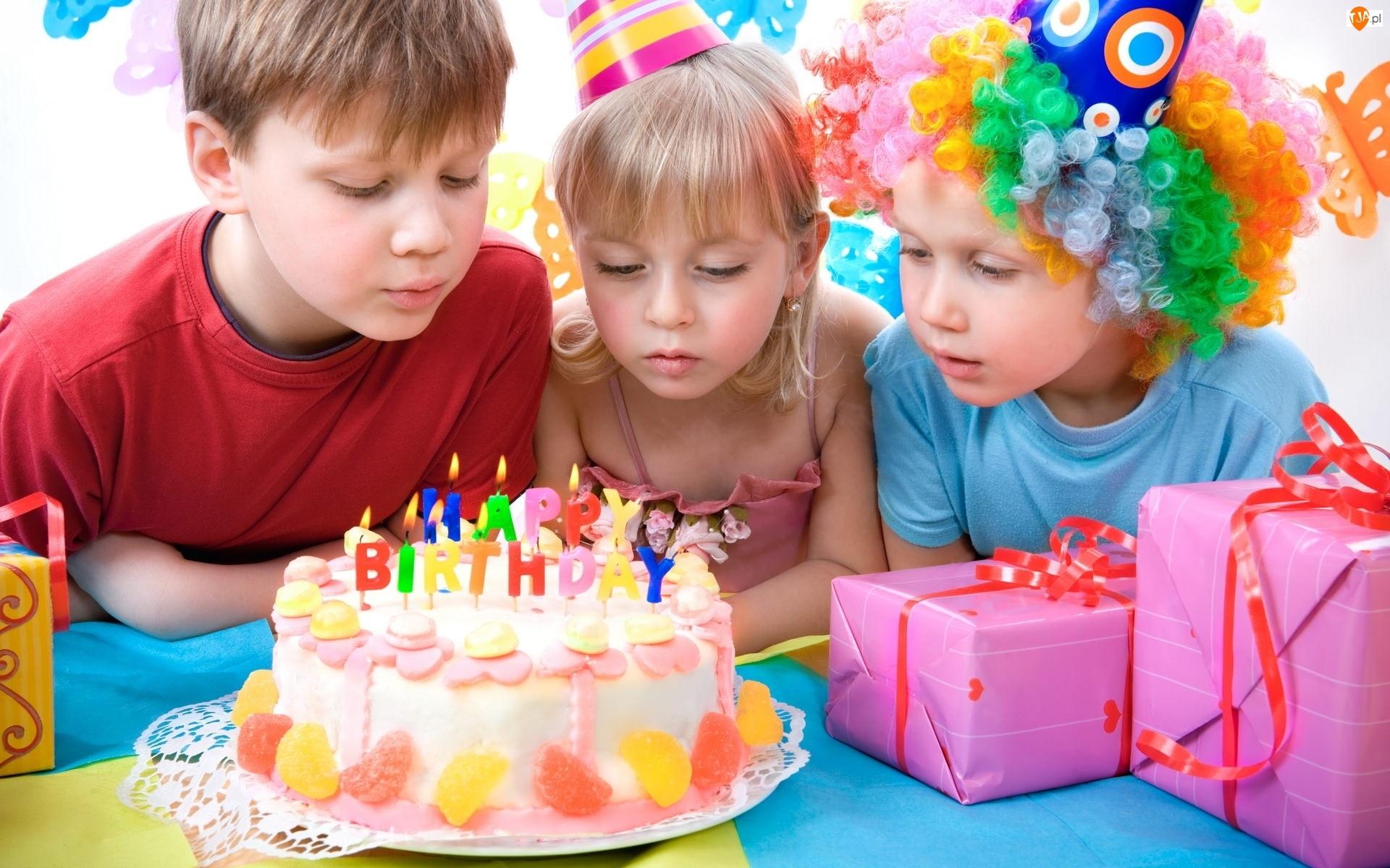 Urodziny, Prezenty, Dzieci, Tort