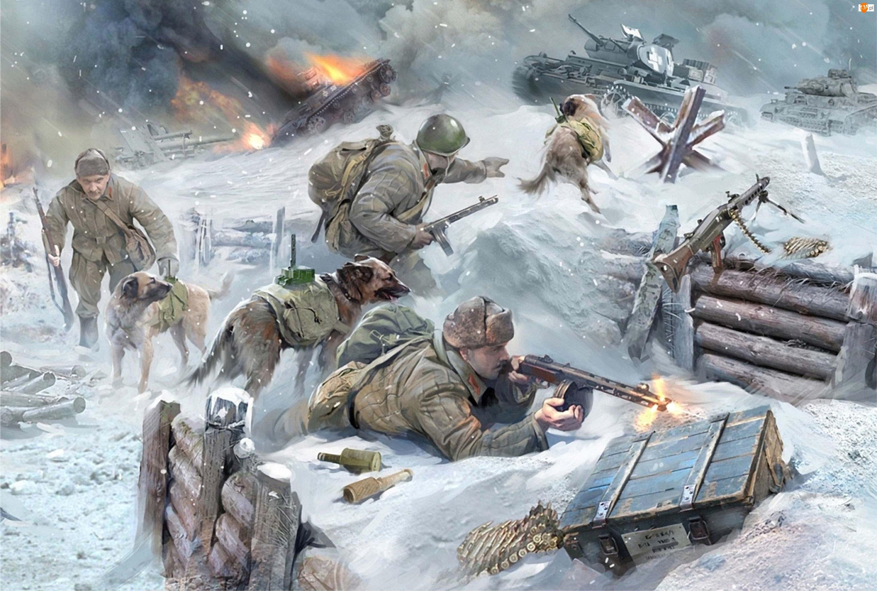 Ogień, Żołnierze, Broń, Czołgi, Walka