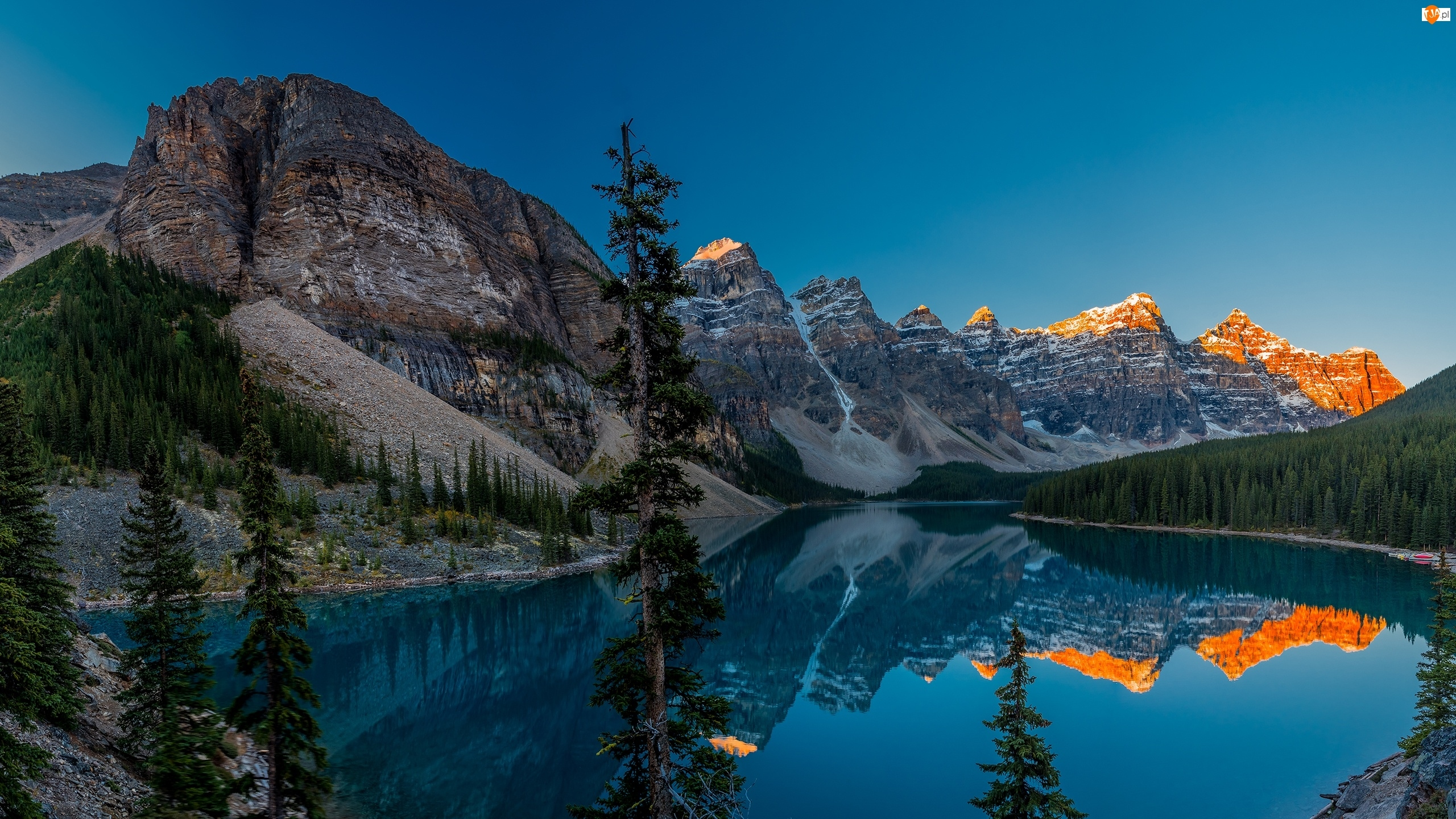Góry, Drzewa, Jezioro, Odbicie