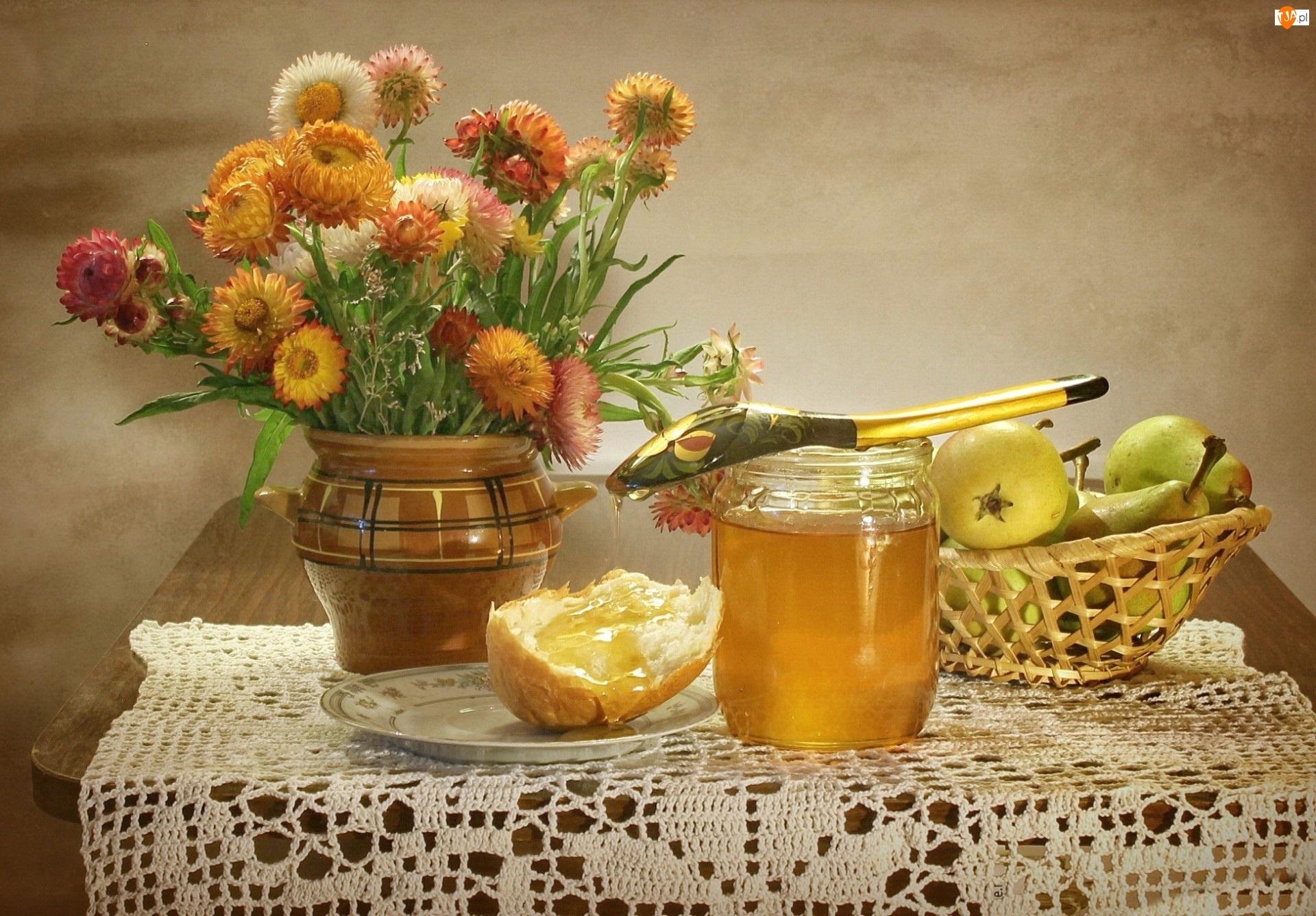 Jablka, Suszone, Bukiet, Kwiaty, Miod