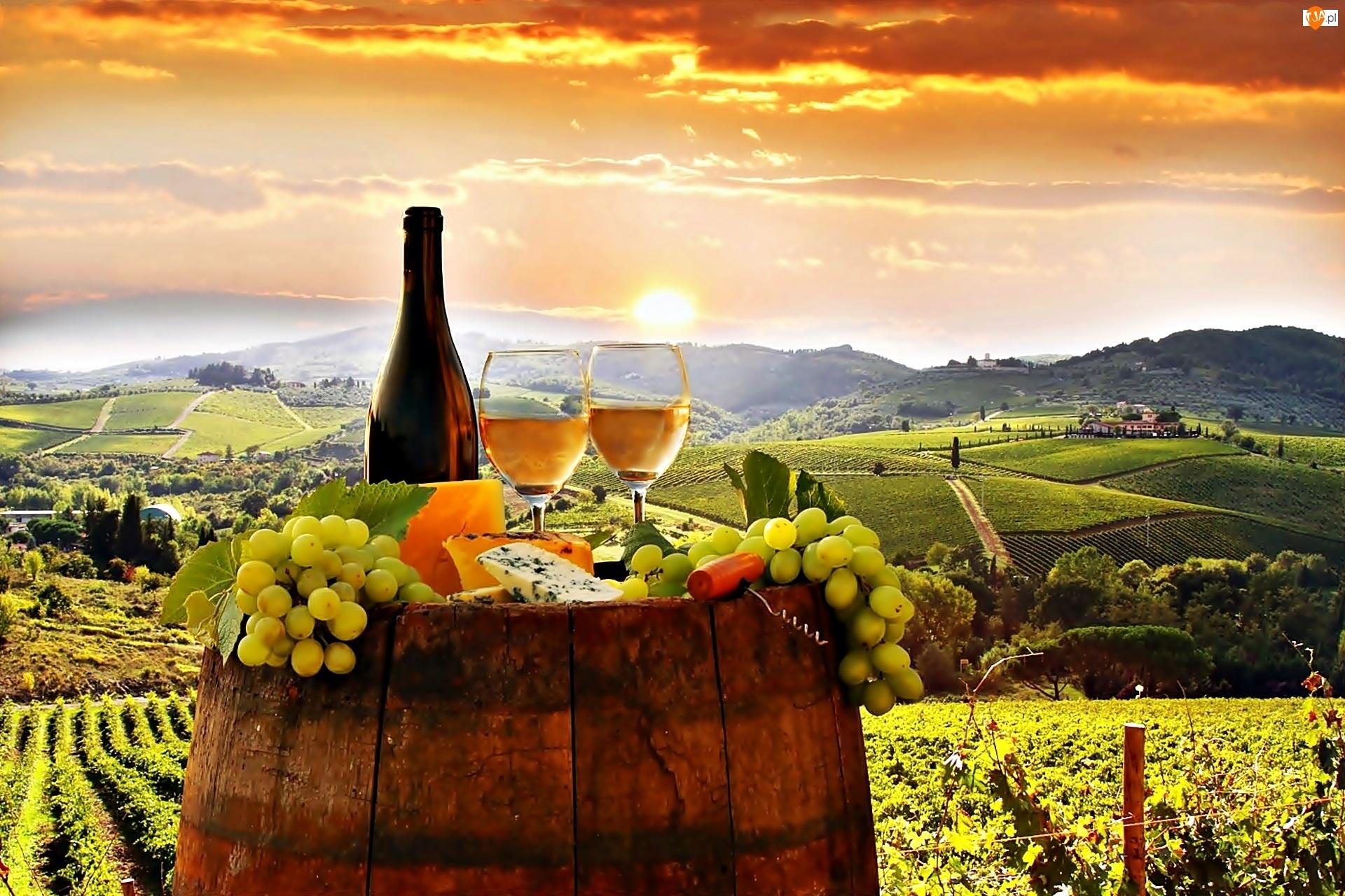 Wino, Białe, Owoce, Toskanii, Sery, Winnice