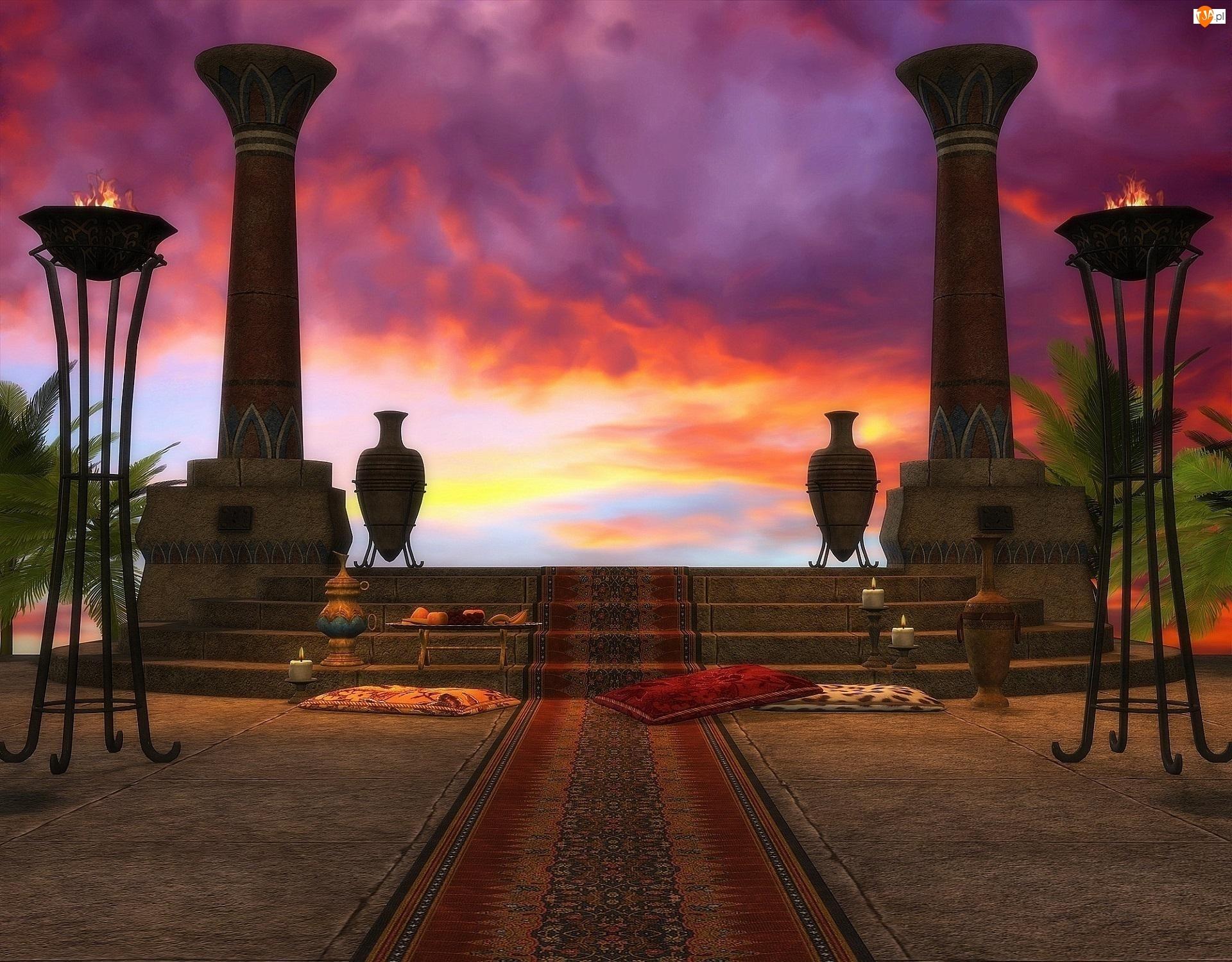 Niebo, Kolumny, Schody, Dywan, Świątynia, Znicze, Wazy