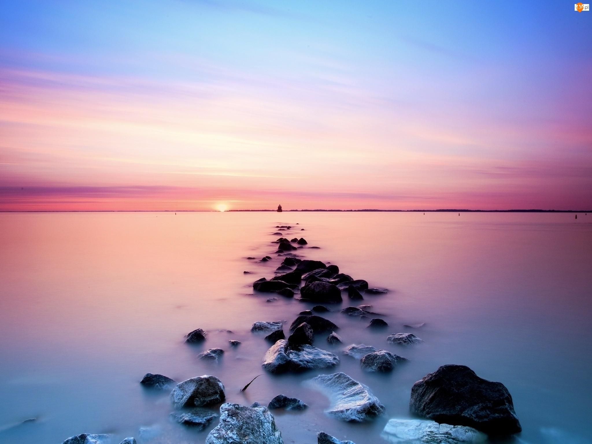 Morze, Słońca, Kamienie, Zachód