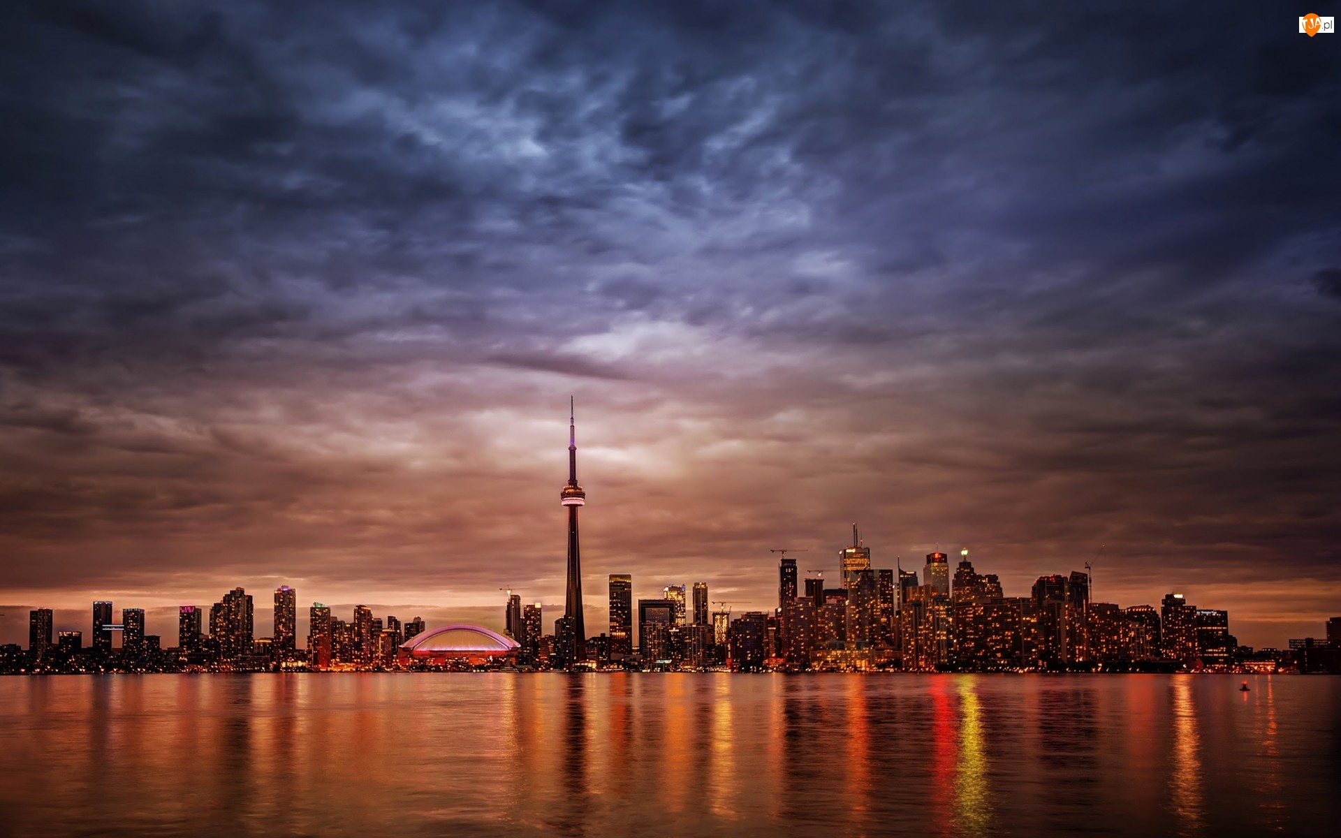 Kanada, Drapacze, Morze, Chmur, Toronto