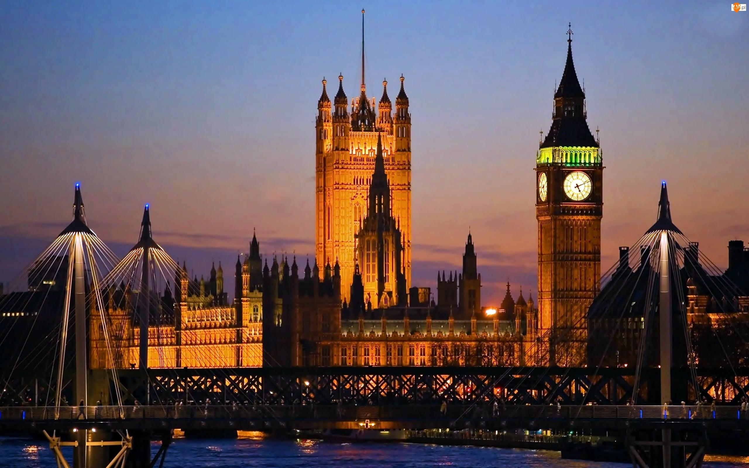 Panorama, Most, Pałac, Big Ben, Londynu, Westminster, Nocna