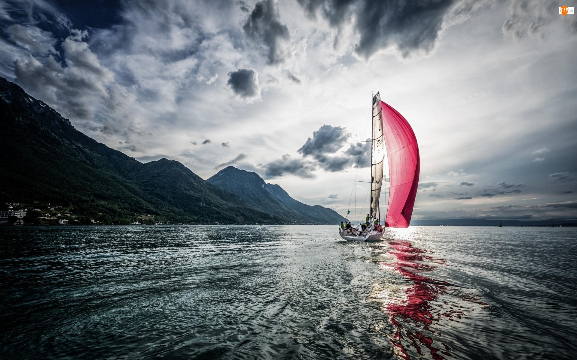 Jacht, Góry, Morze, Fale