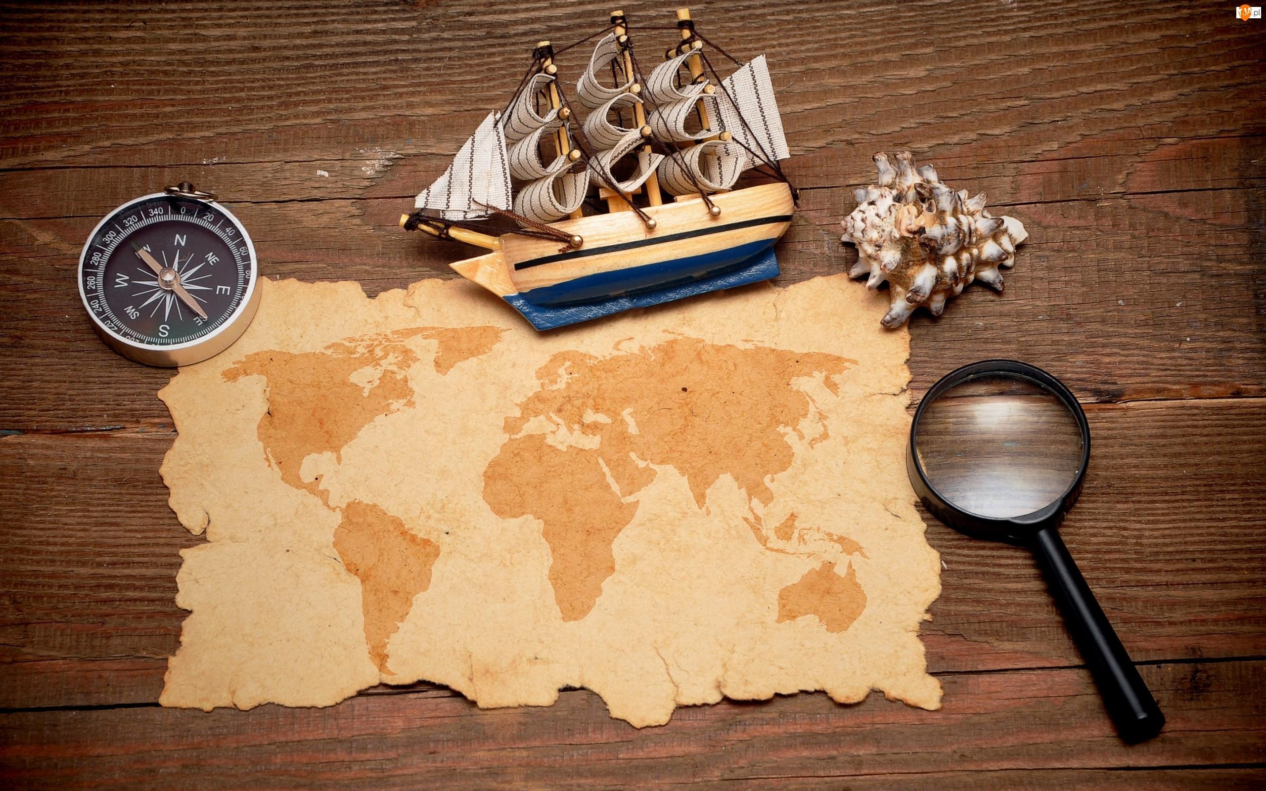 Kompas, Mapa, Lupa, Muszelka, Statek