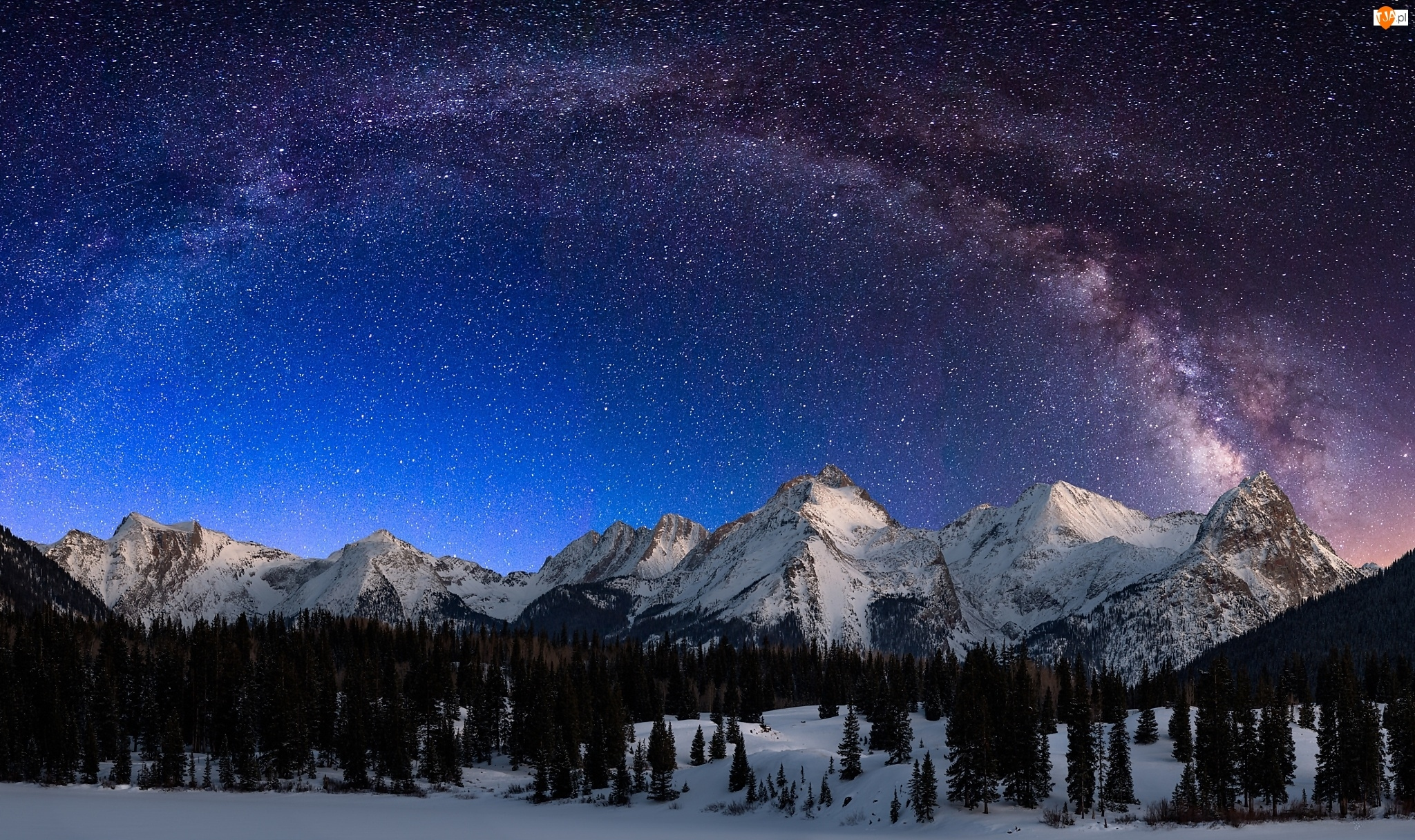 Noc, Mleczna, Zima, Droga, Góry, Las Gwiazdy