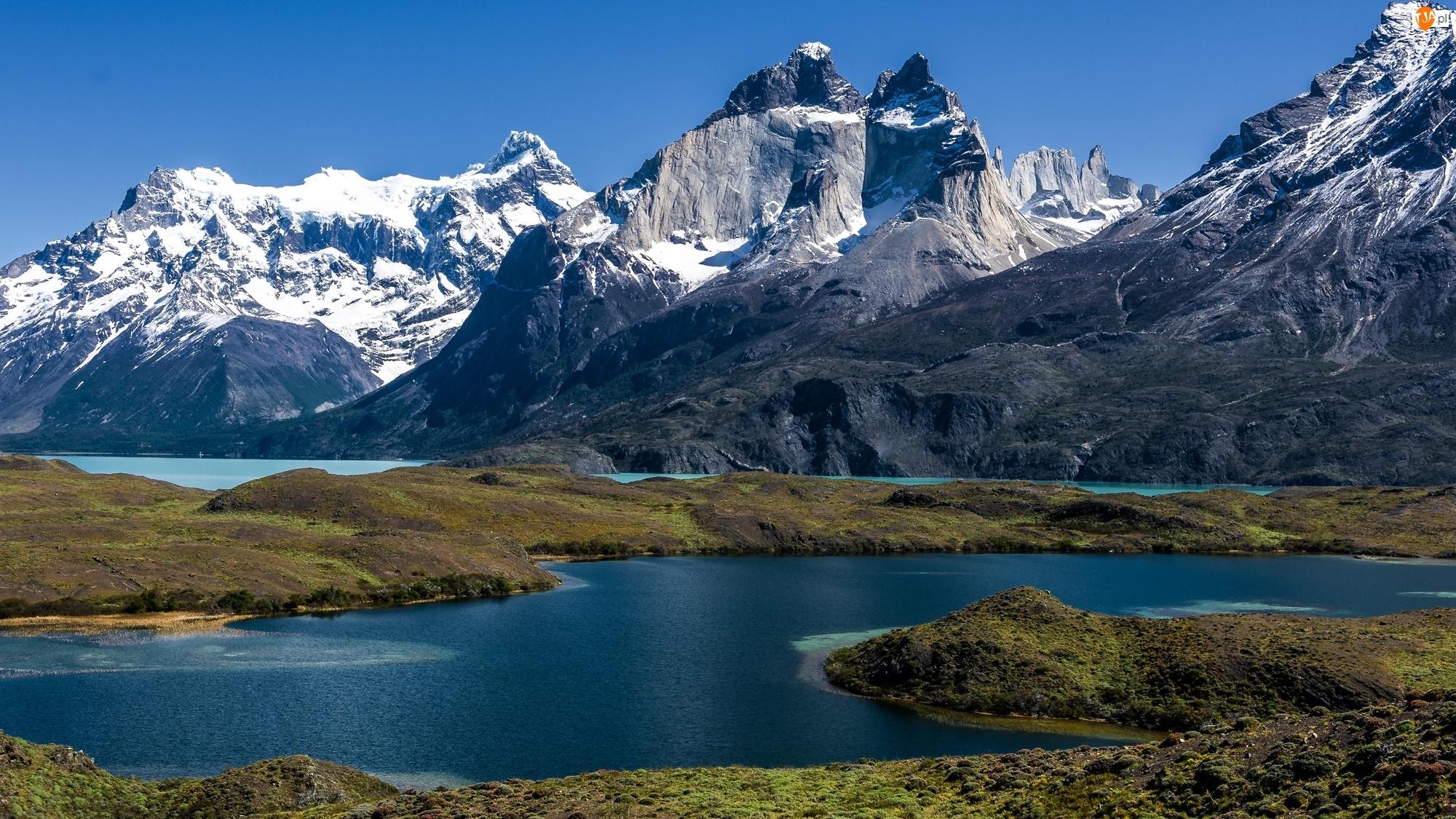 Chile, Śnieg, Góry, Jeziora