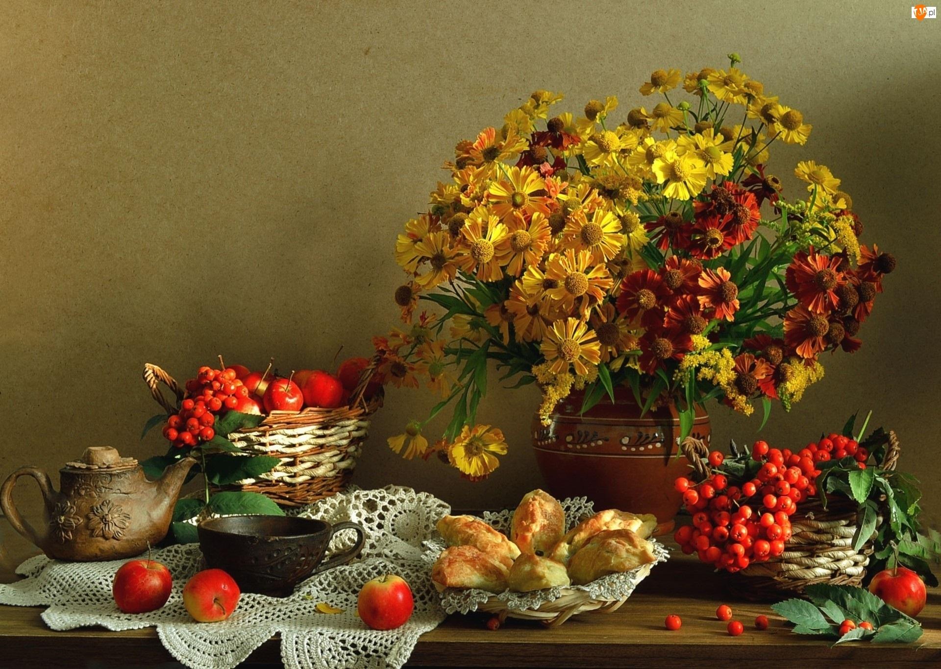 Kwiaty, Pieczywo, Bukiet, Owoce